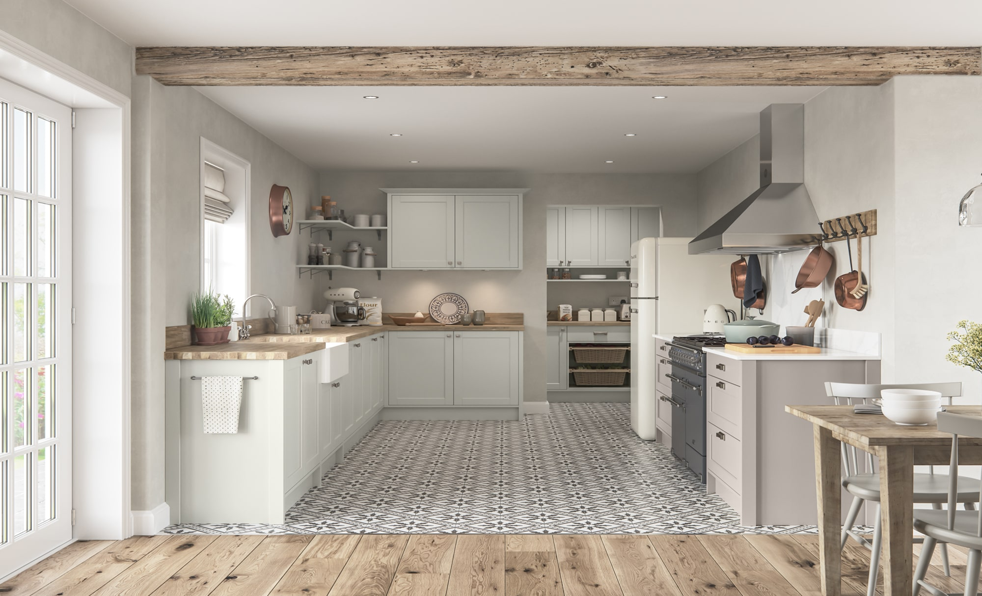 Classic Traditional Country Dawson Porcelain & Cashmere Kitchen