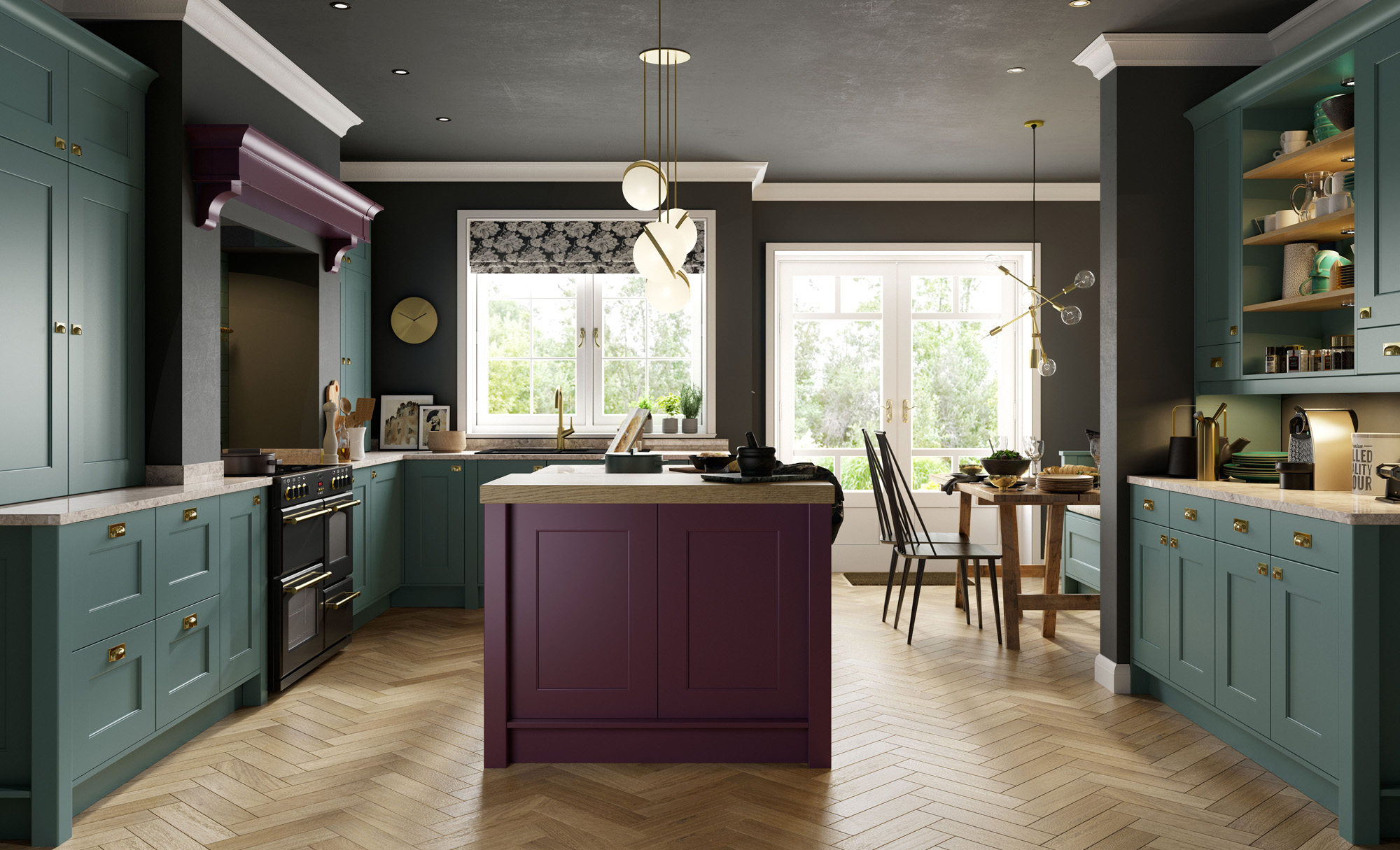 Classic Modern Smooth Painted Florence Kitchen in Deep Heather & Viridian
