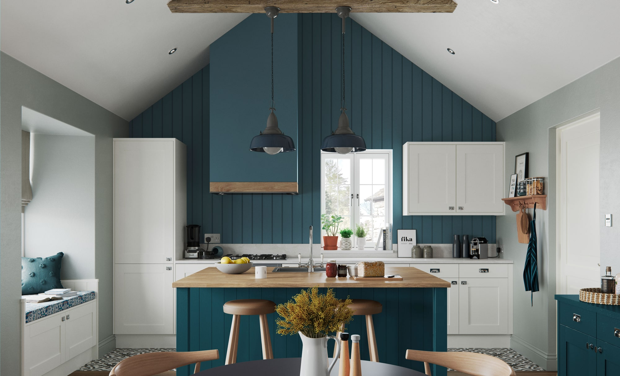 Classic Modern Madison Shaker Style Kitchen in Painted Porcelain & Marine