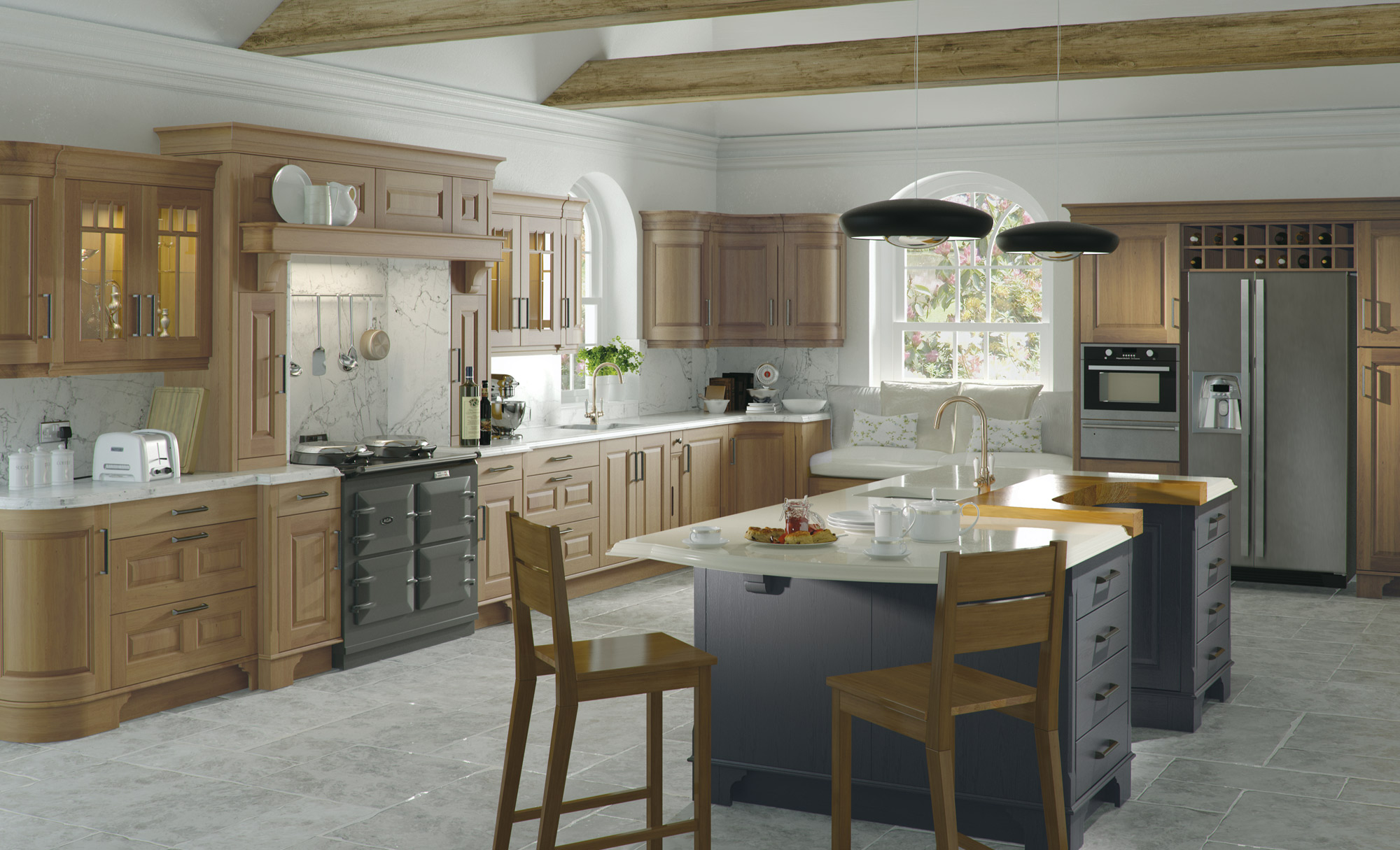 Classic Traditional Country Style Dante Kitchen in Oak & Painted Lava