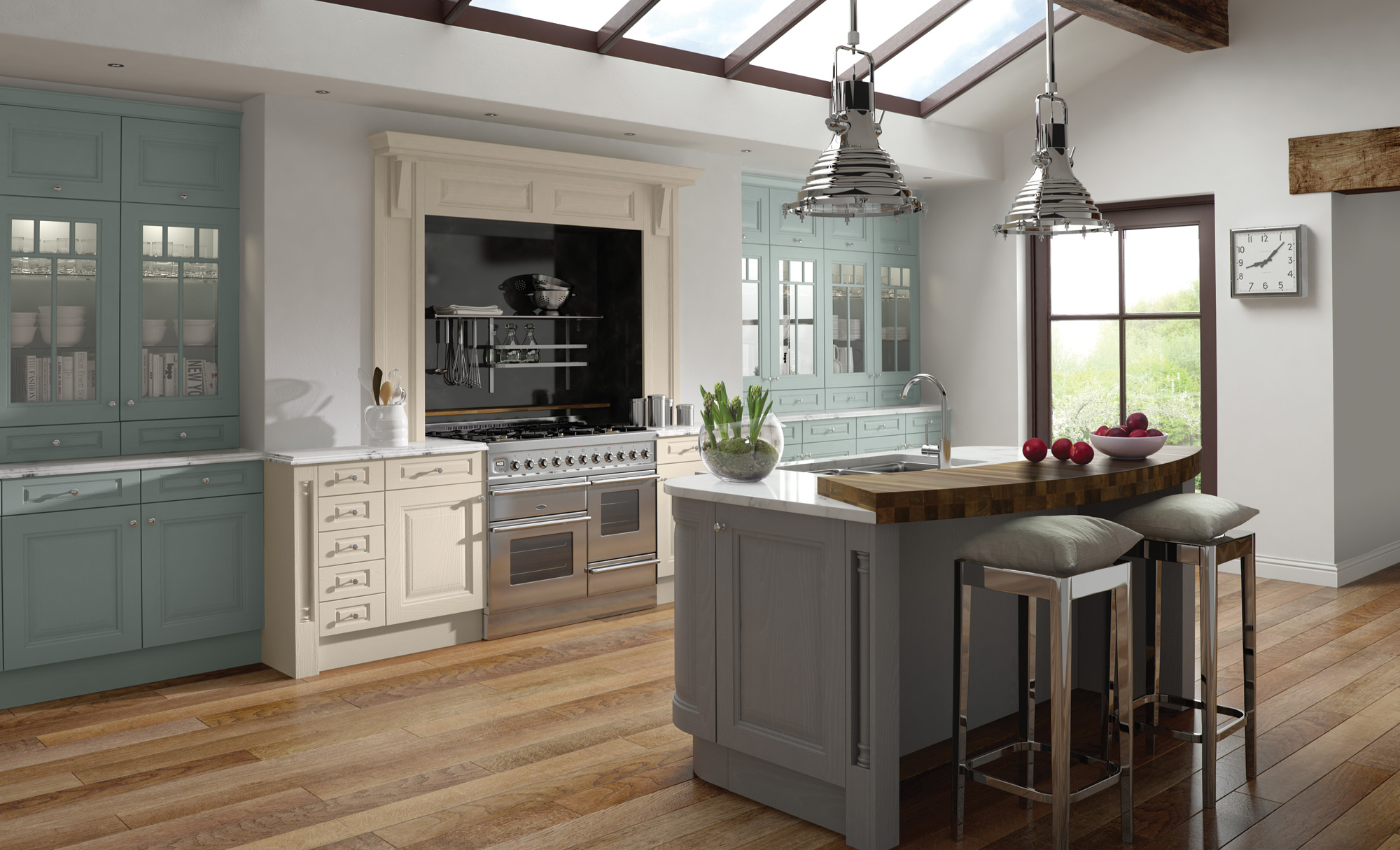 Classic Traditional Country Jefferson Painted Powder Blue Ivory Dust Grey Kitchen
