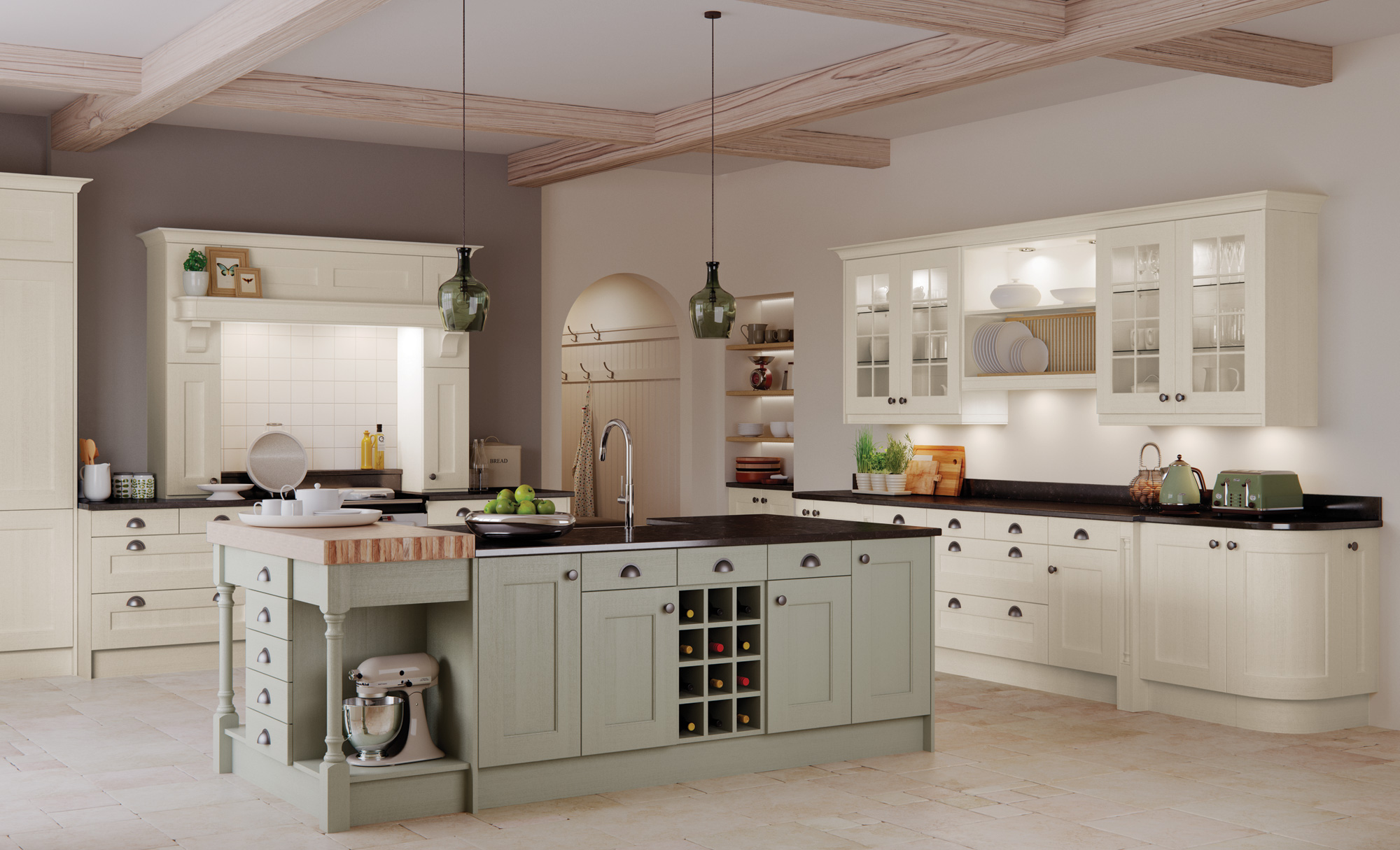 A classic, traditional country style kitchen, Wakefield in painted ivory & sage green