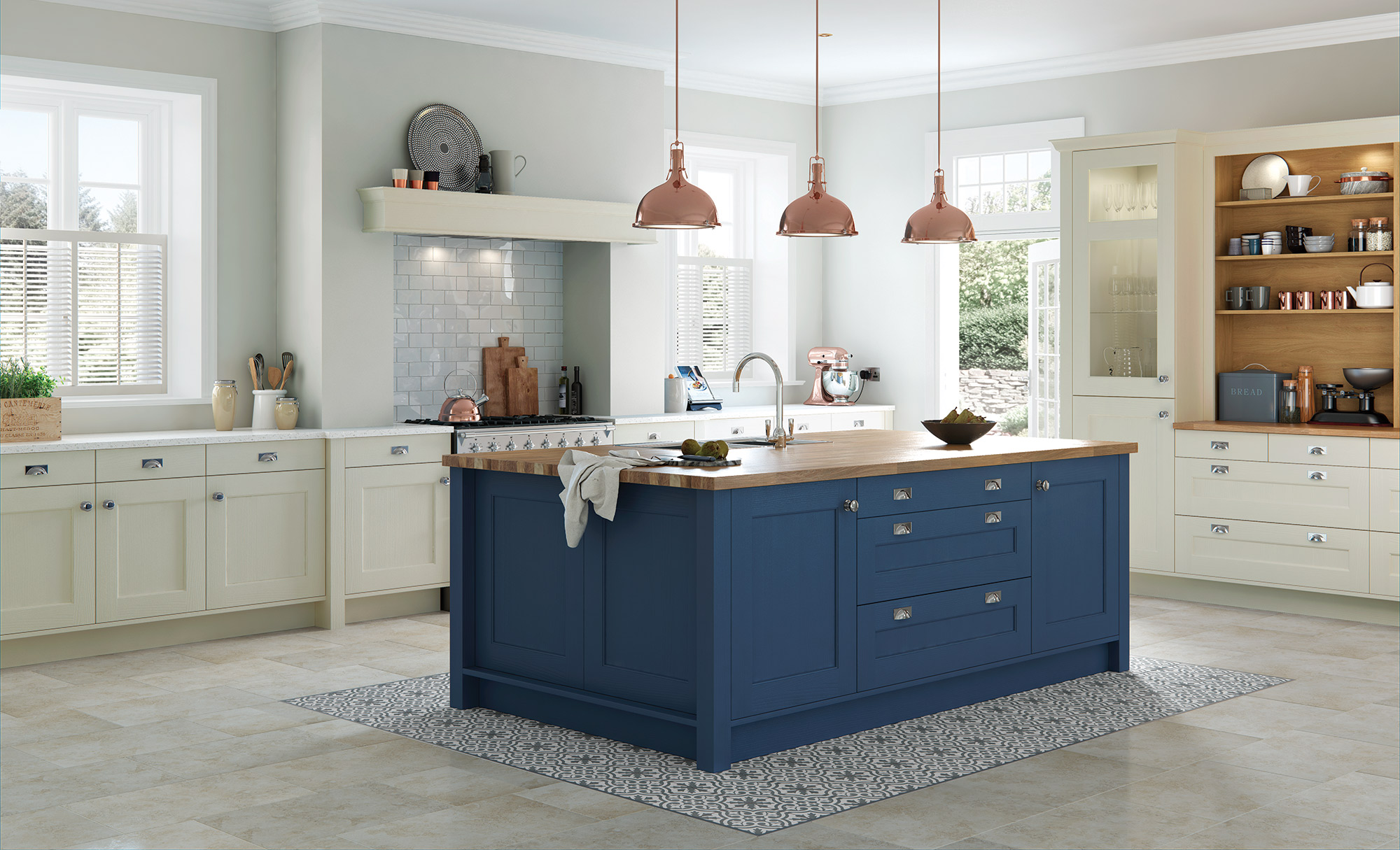 Wakefield classic mussel parisian blue kitchen stori for Blue kitchen paint ideas