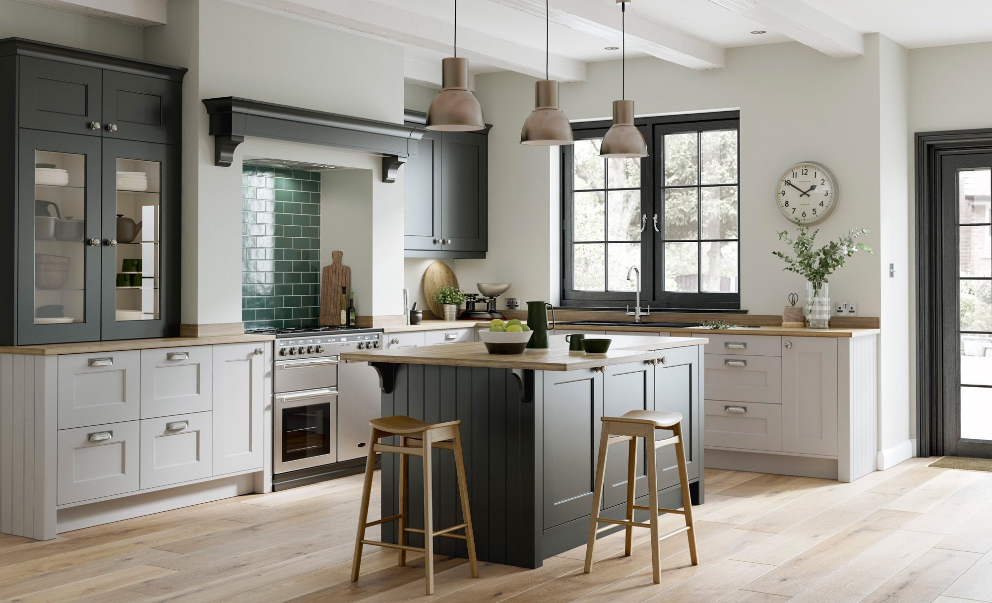 Florence Smooth Painted Shaker Kitchen in Graphite & Light Grey