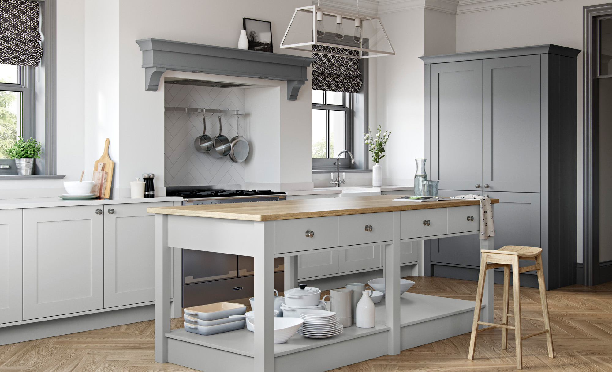 Georgia Smooth Painted Shaker Kitchen in Light Grey & Dust Grey