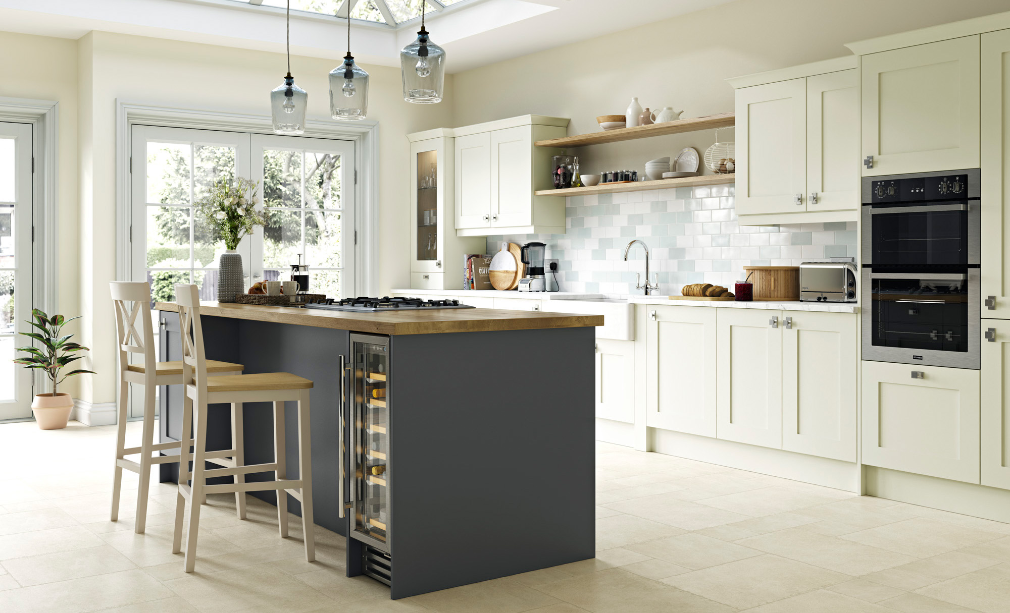 Georgia Smooth Painted Shaker Kitchen in Porcelain & Graphite