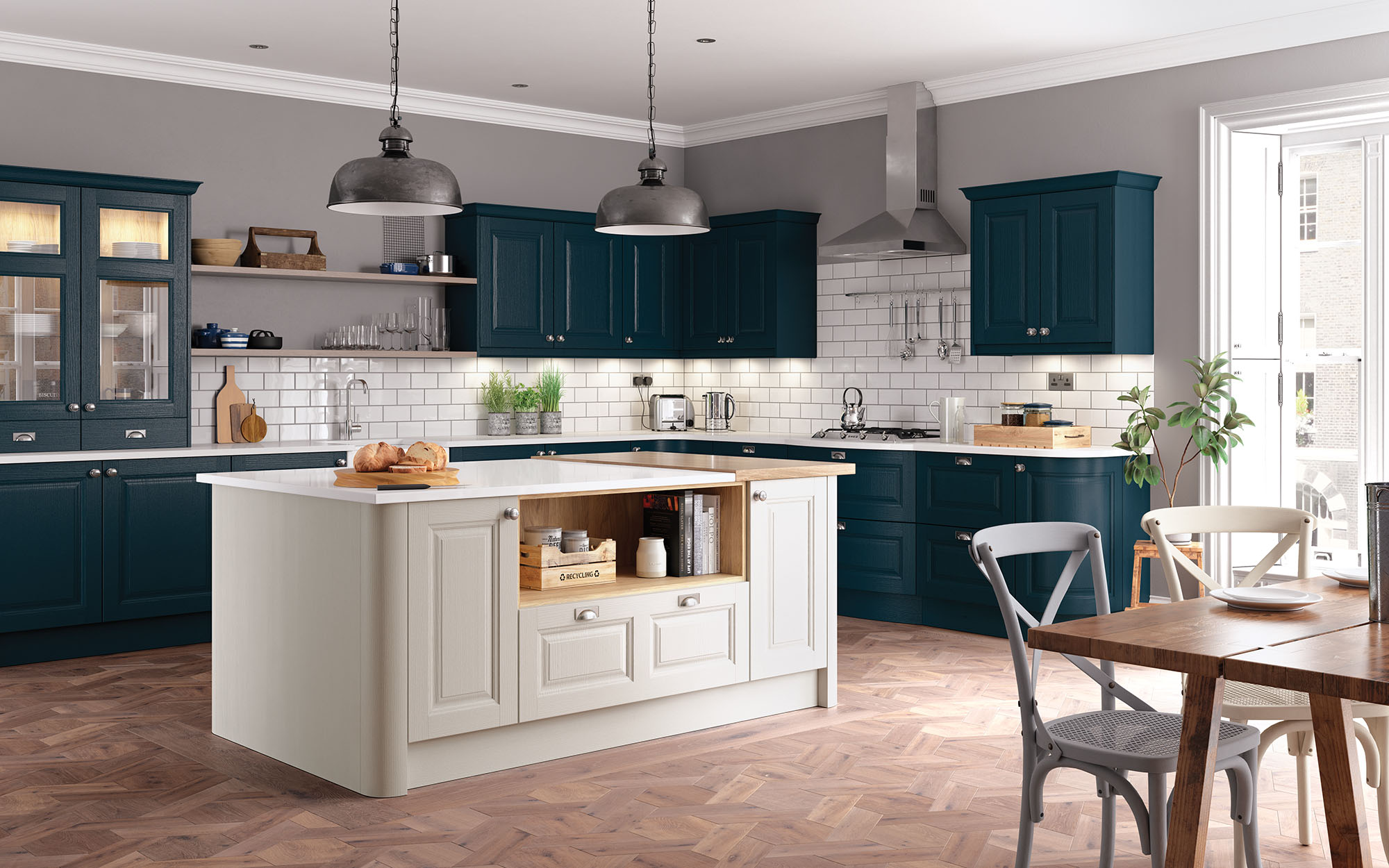 Classic Jefferson Kitchen in Painted Marine & Shell