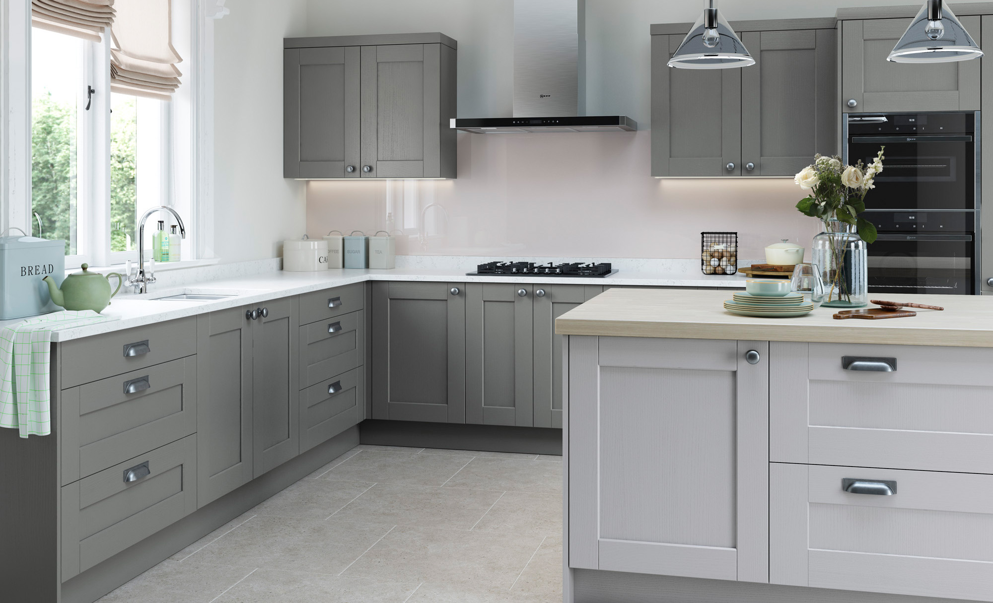 Kensington Light Grey & Dust Grey Shaker Style Kitchen