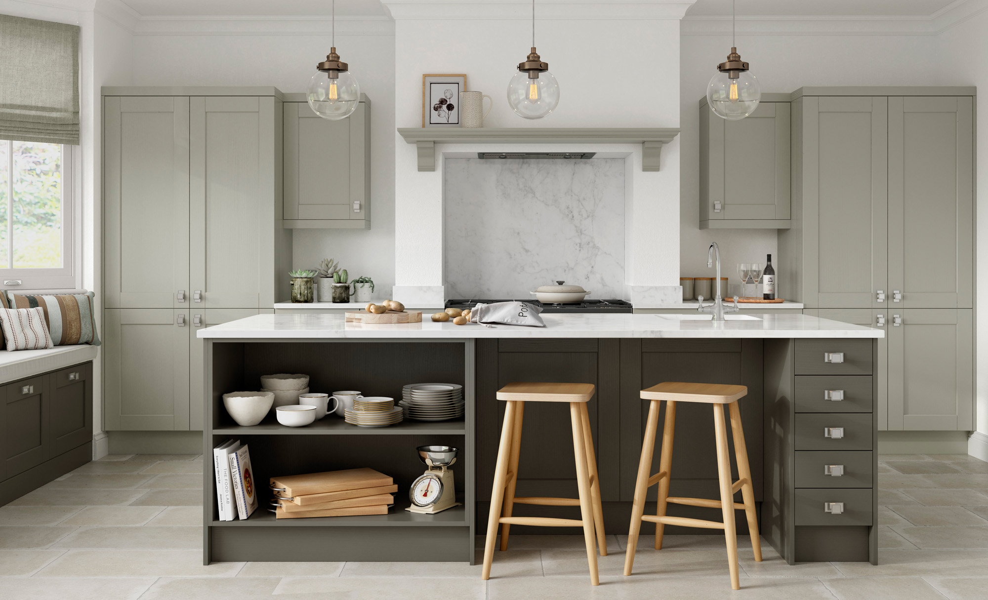 Kensington Shaker Kitchen in Mussel & Lava