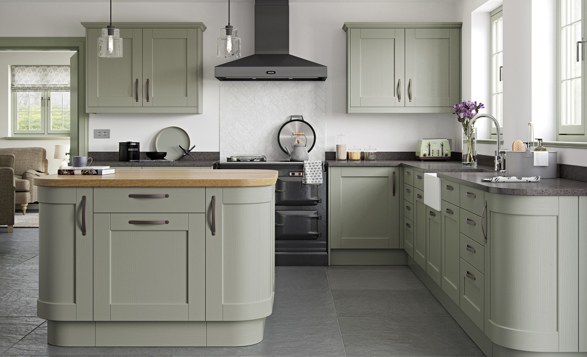kensington shaker style kitchen in painted sage green - Sage Kitchen