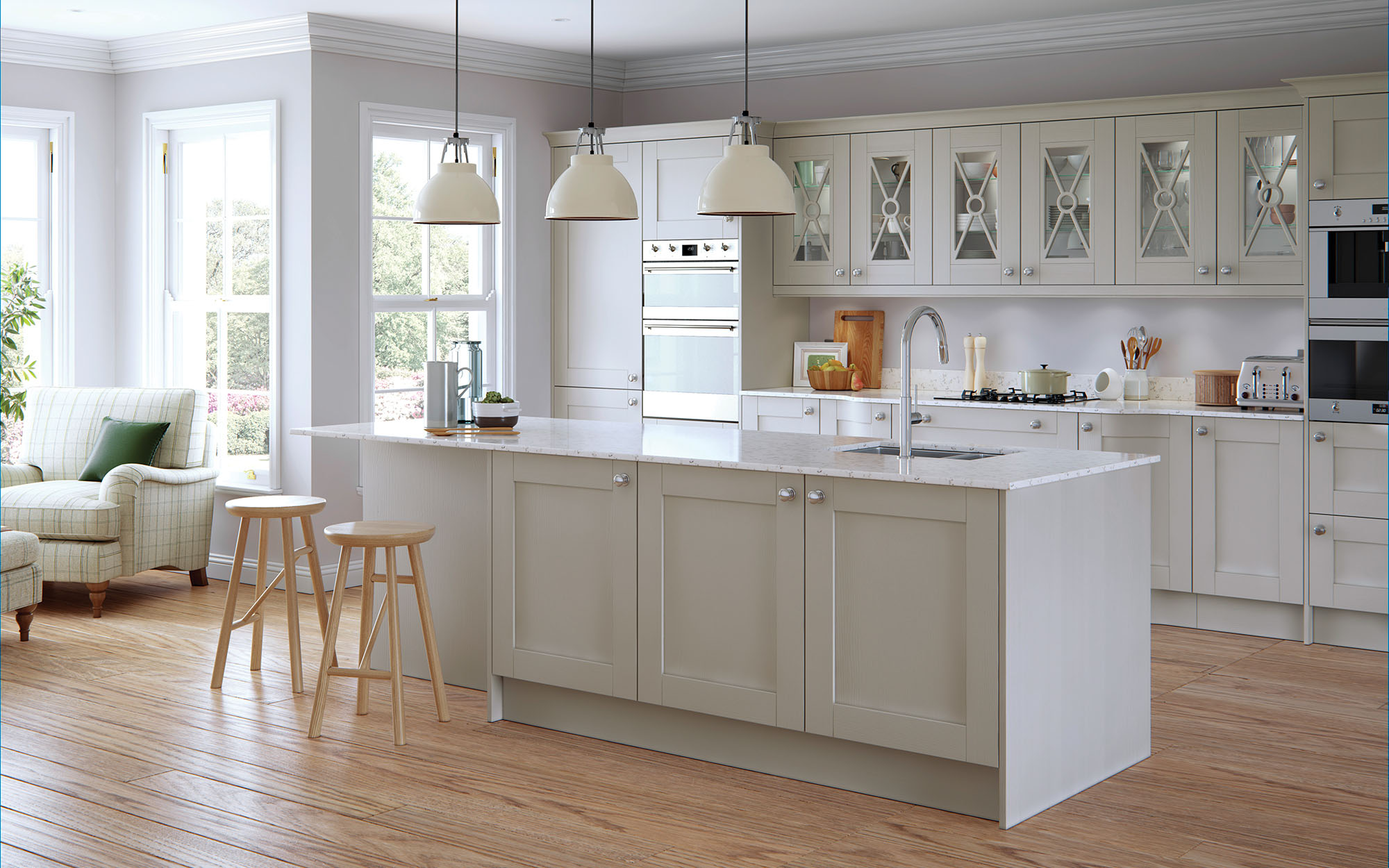 Shaker Kitchen doors Madison Painted Light Grey Uform
