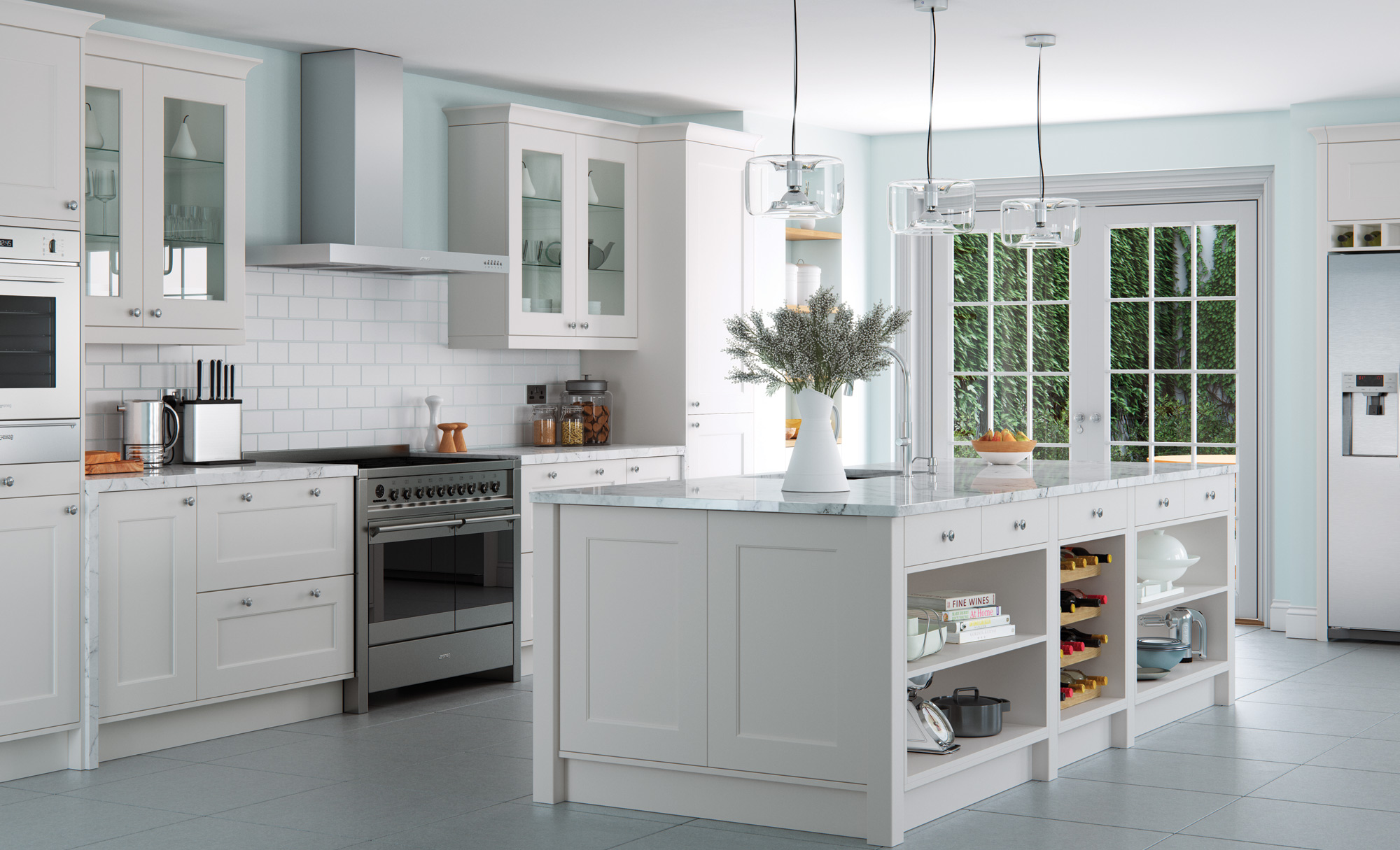 Florence modern light grey kitchen stori for Light grey modern kitchen