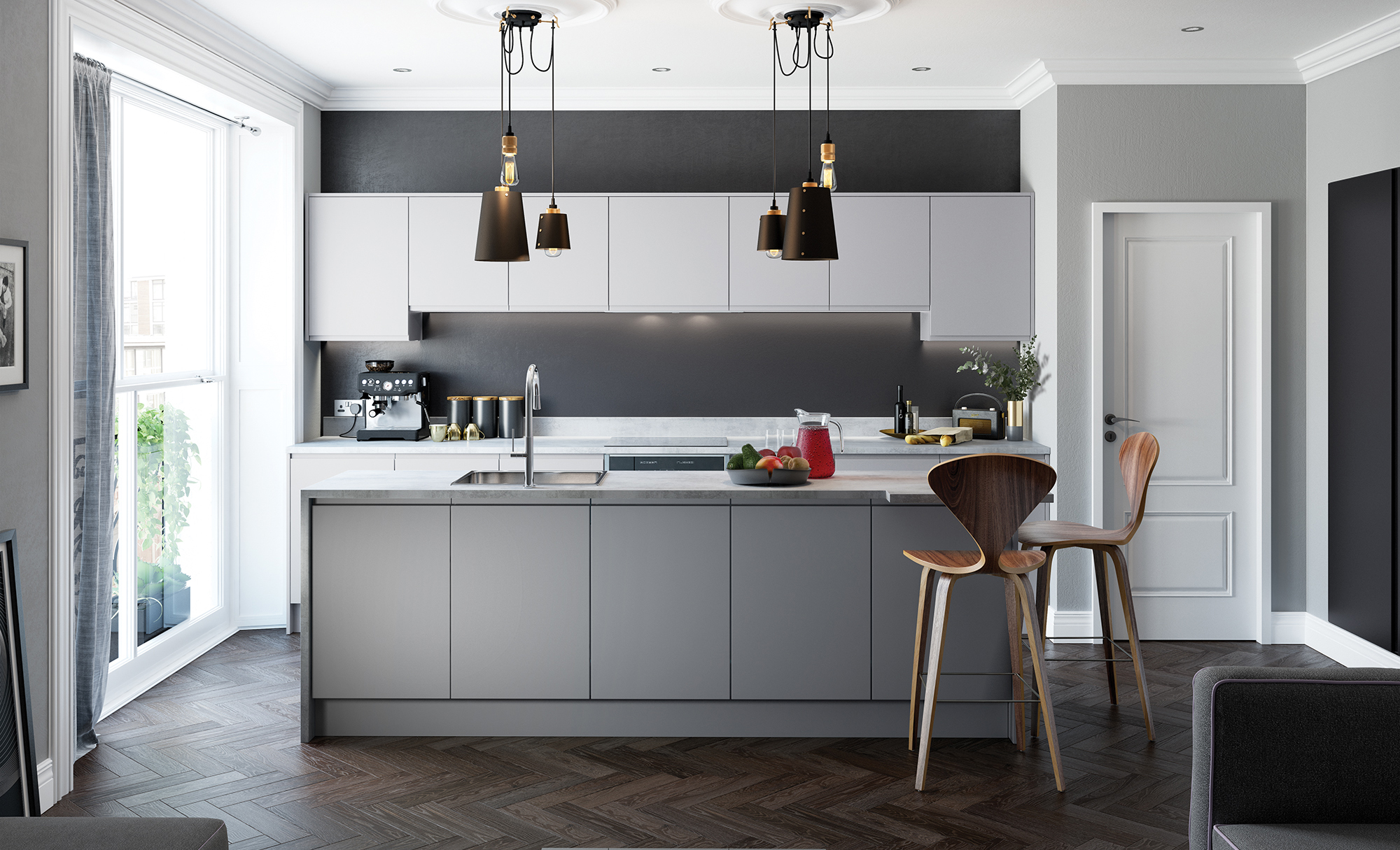 Strada Matte Contemporary Handleless Kitchen in Light Grey, Dust Grey & Graphite