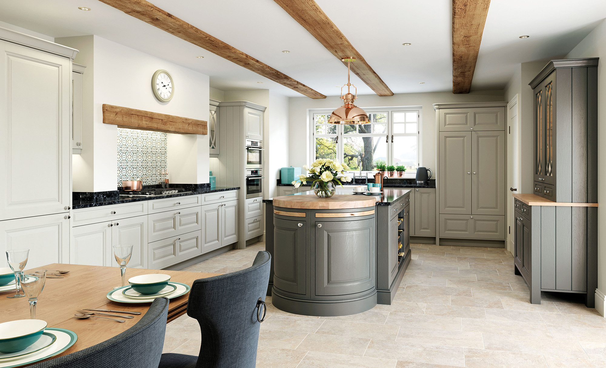 Jefferson Traditional Kitchen in Stone & Gun Metal Grey