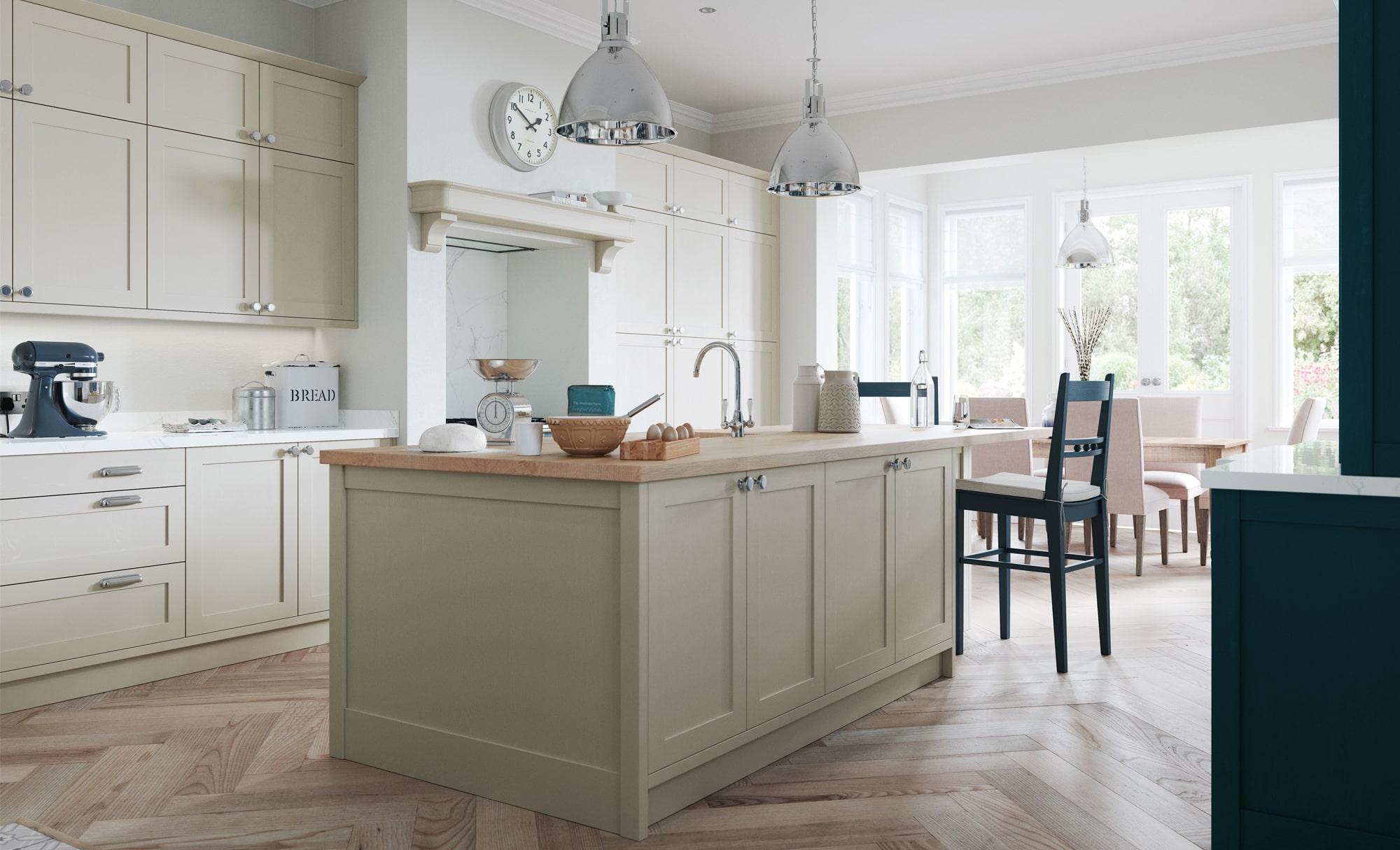 Classic Modern Aldana Shaker Style Kitchen in Painted Stone & Marine