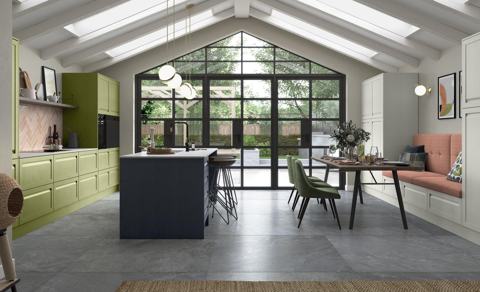 Modern Classic Harborne Slate Blue, Stone & Citrius Green