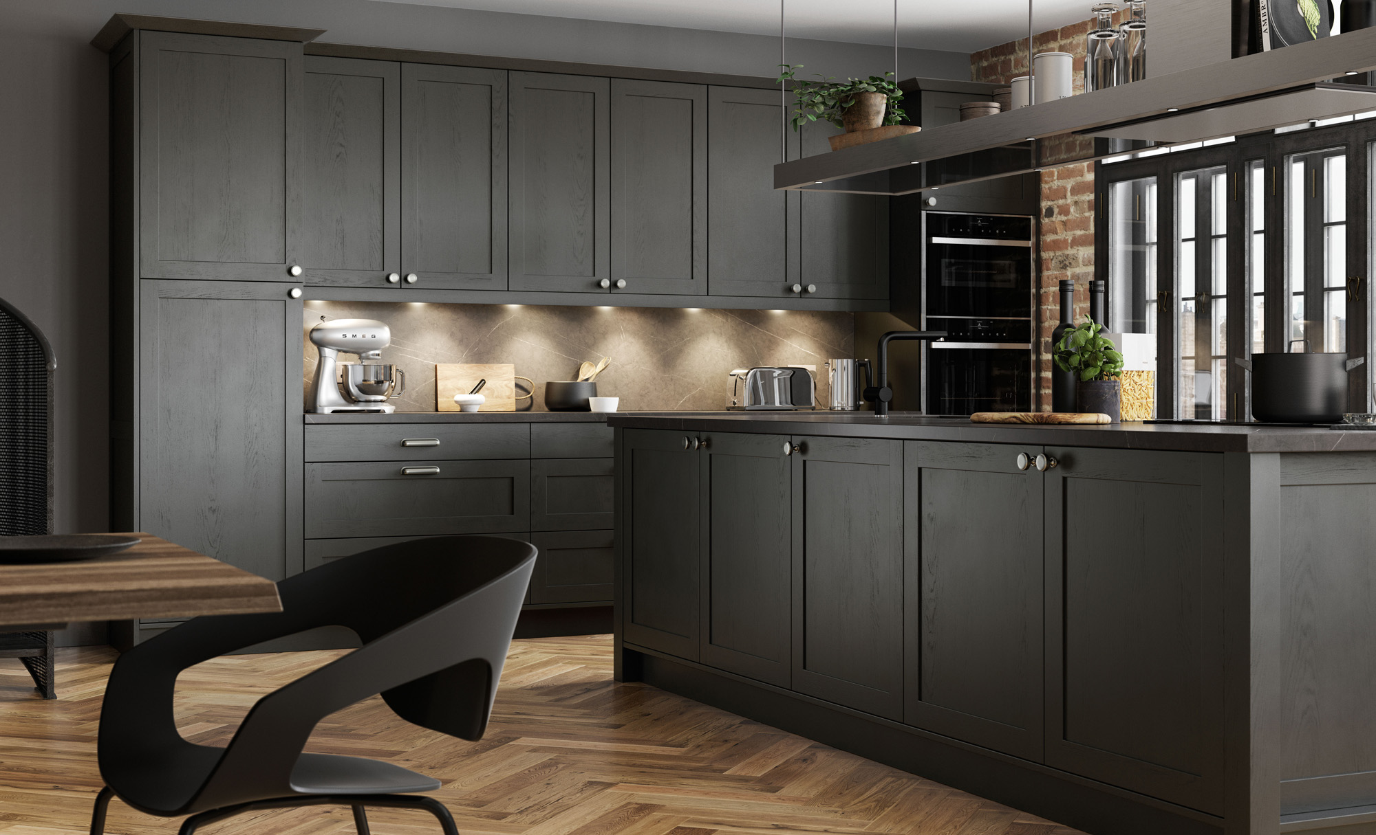 Modern, Contemporary Aldana Shaker Style Kitchen In Painted Graphite