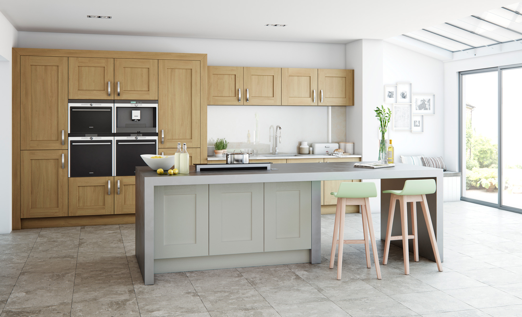 clonmel modern light oak stone kitchen stori
