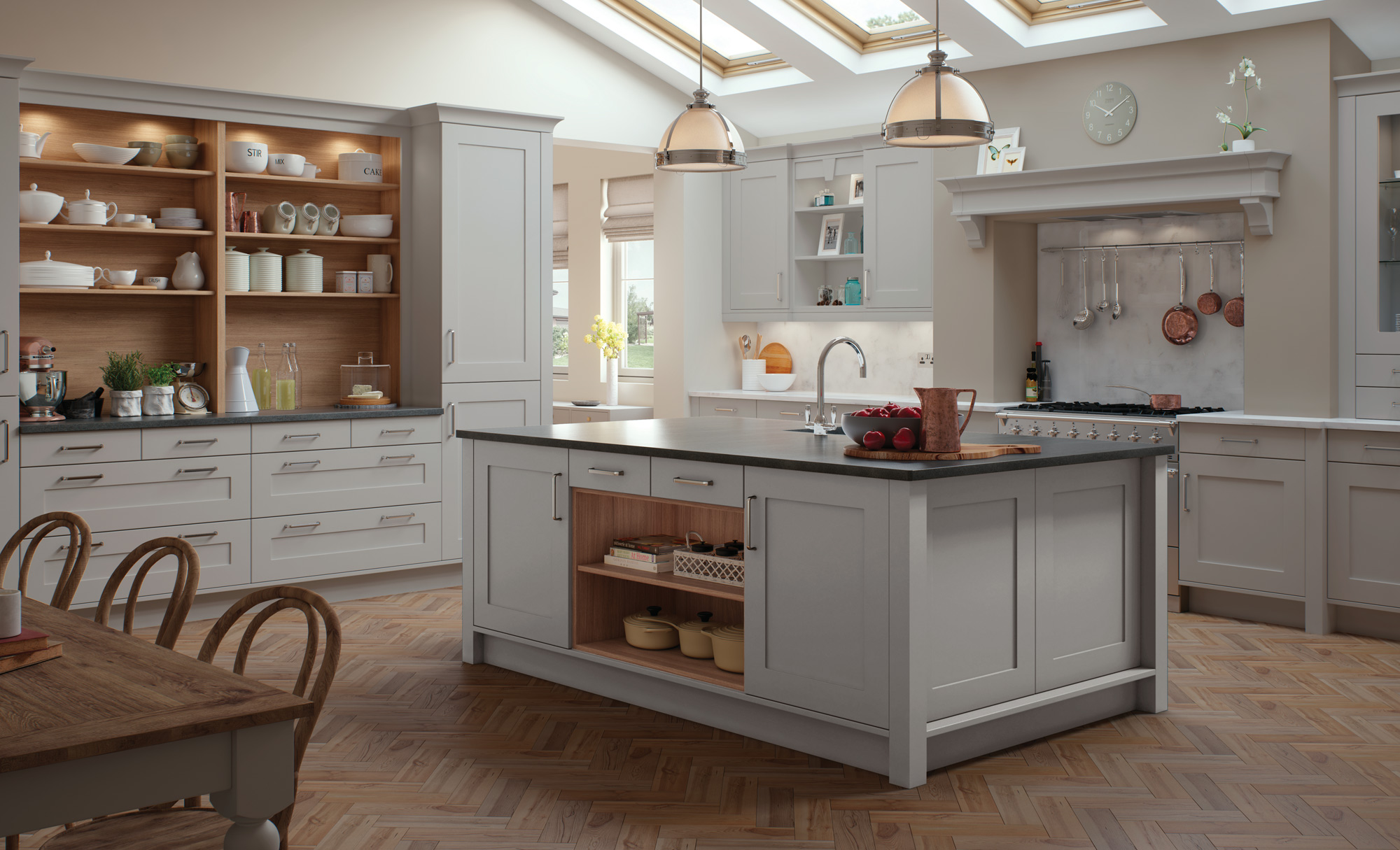 modern contemporary classic georgia painted light grey kitchen hero