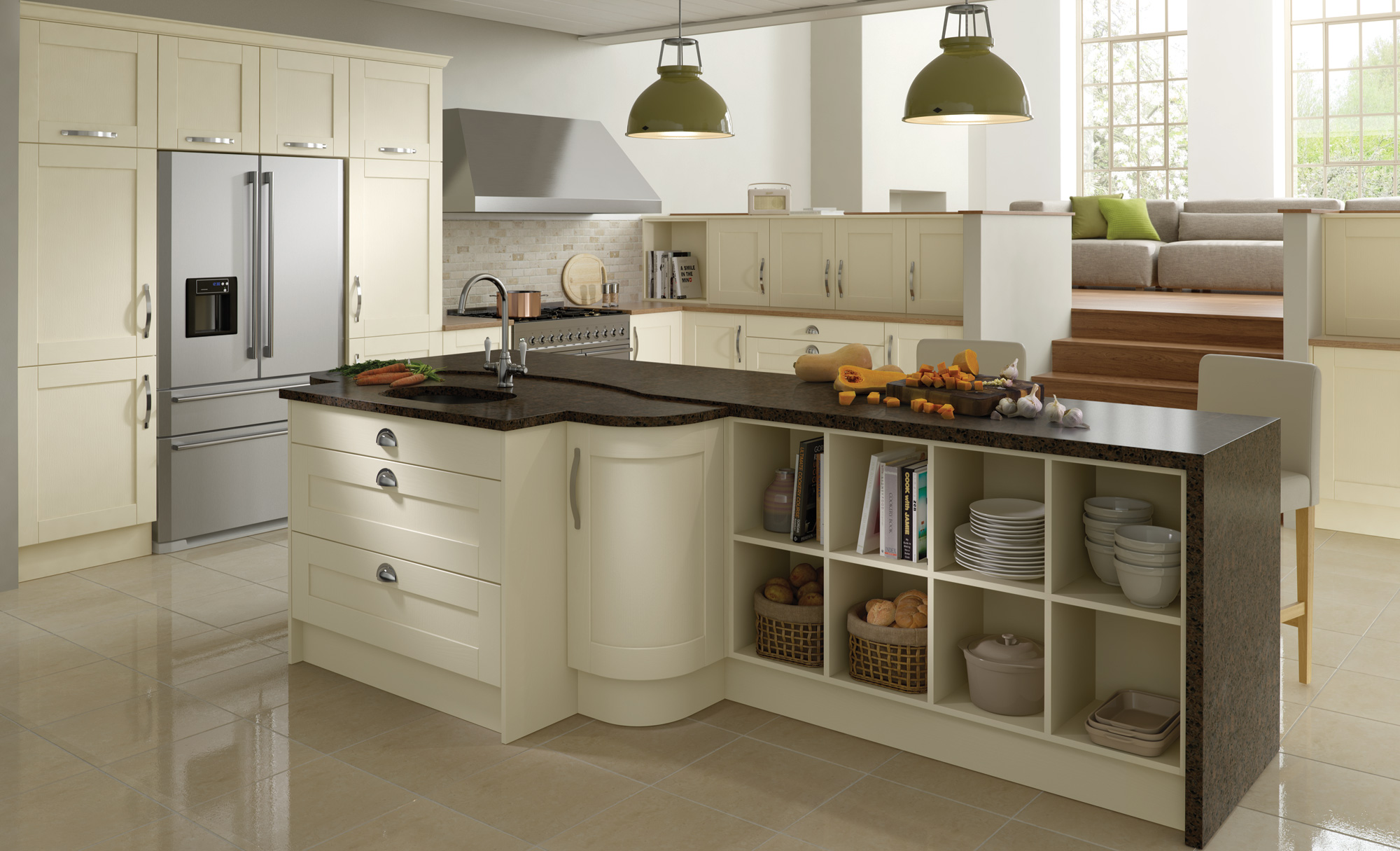 Madison contemporary ivory kitchen stori for Contemporary shaker style kitchen