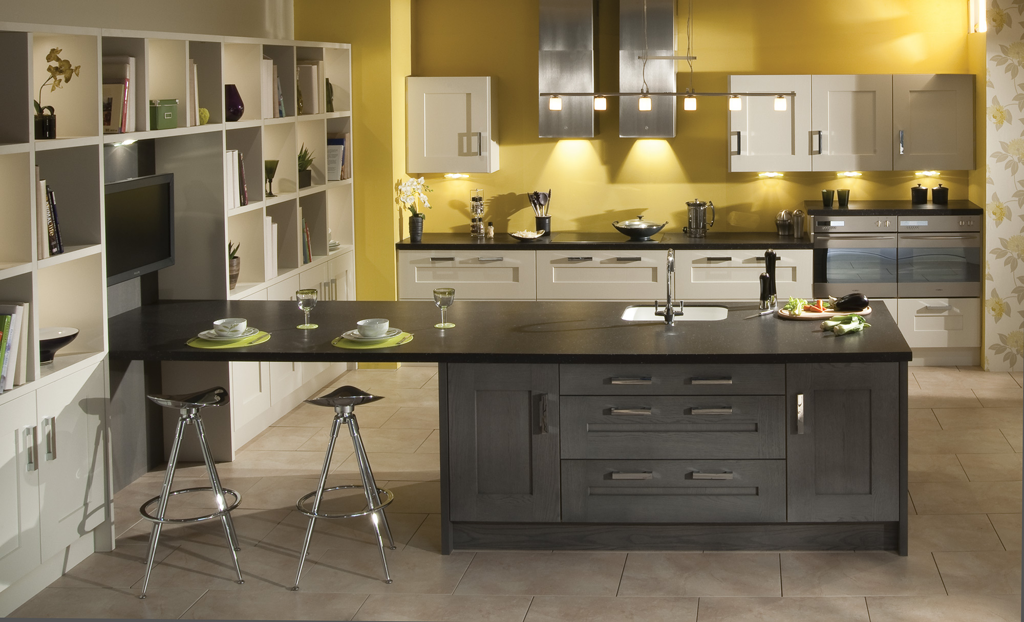 Modern Contemporary Clonmel Oak Shaker Kitchen in Stained Anthracite and Painted Mussel