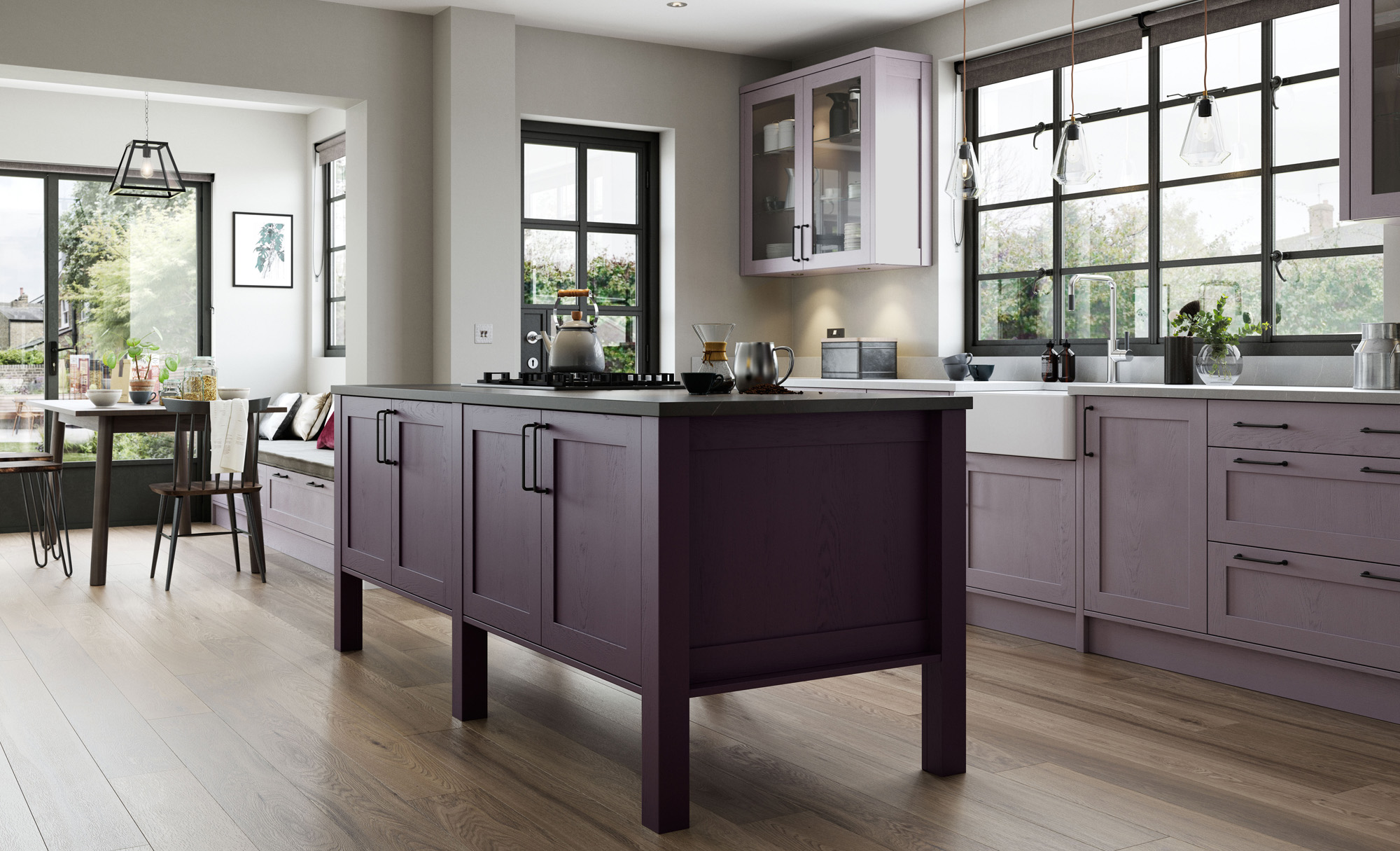 Modern Contemporary Aldana Kitchen in Painted Lavendar Grey & Deep Heather