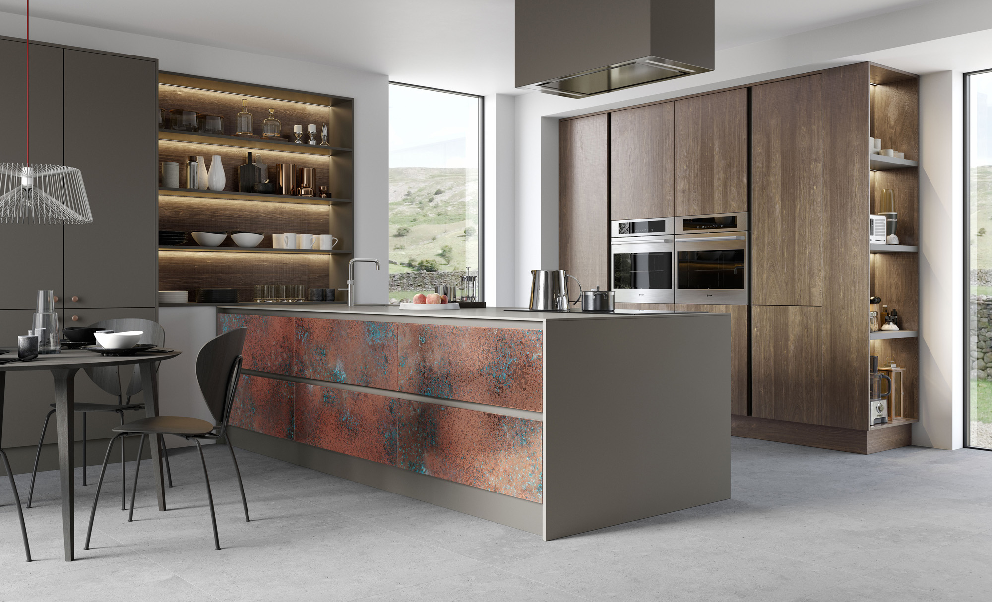 Modern Contemporary Kitchen Featuring Ferro in Oxidised Copper, Zola Matte Lava & Rezana in Espresso Oak