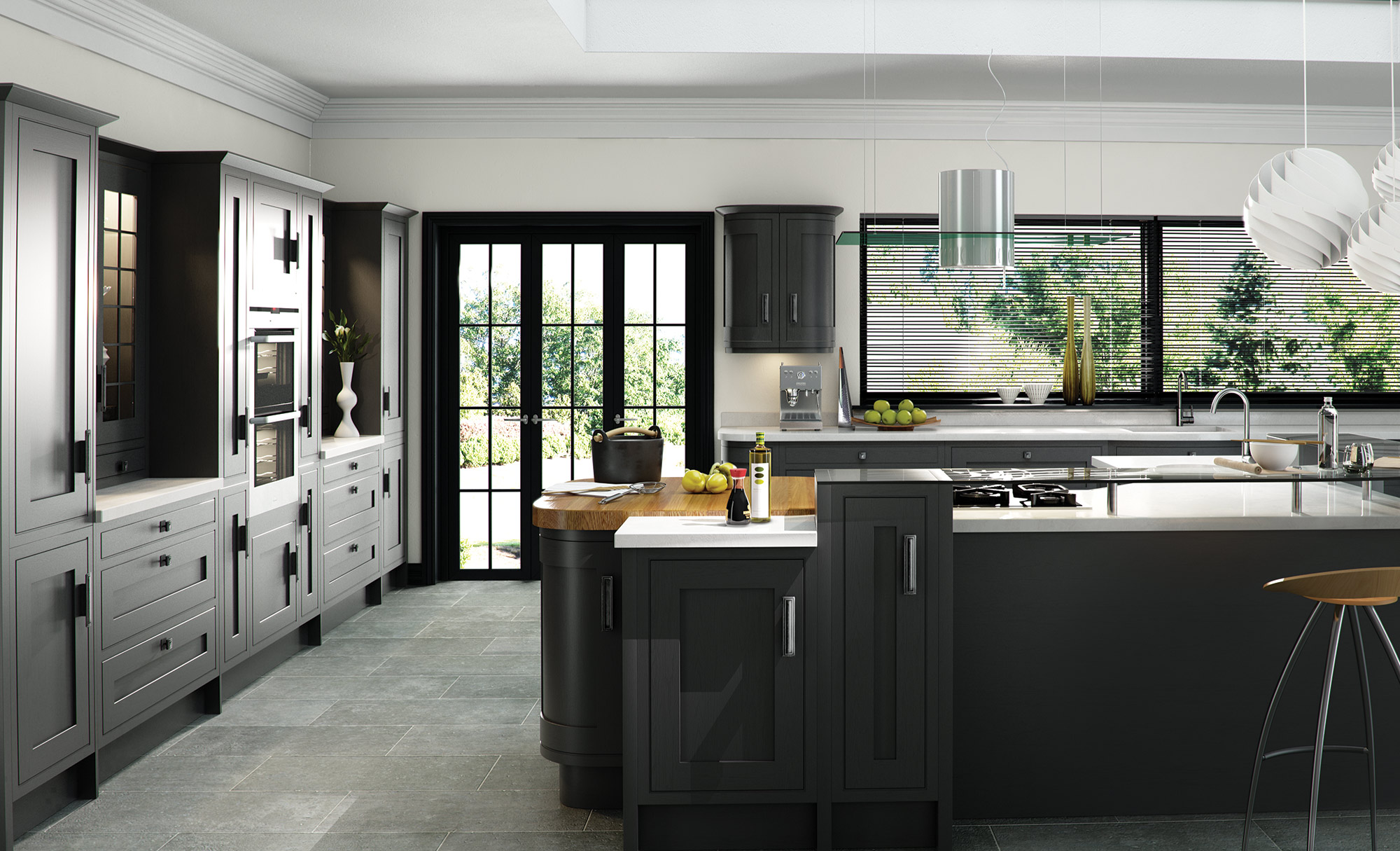 Modern Contemporary Iona Inframe painted kitchen in graphite