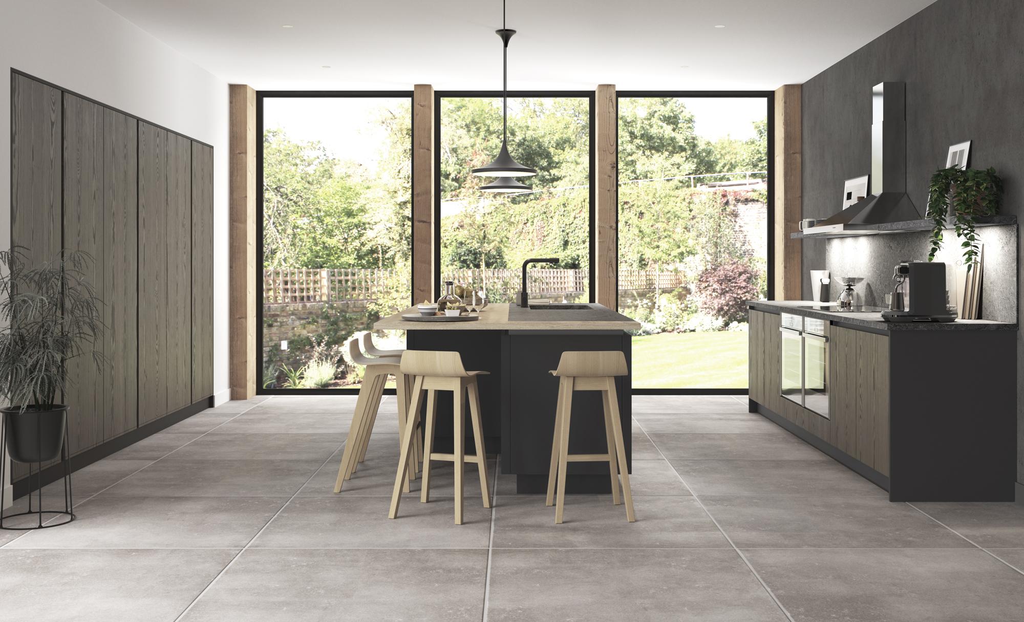Kelso Stained Truffle Grey & Zola Matte Graphite Modern Kitchen