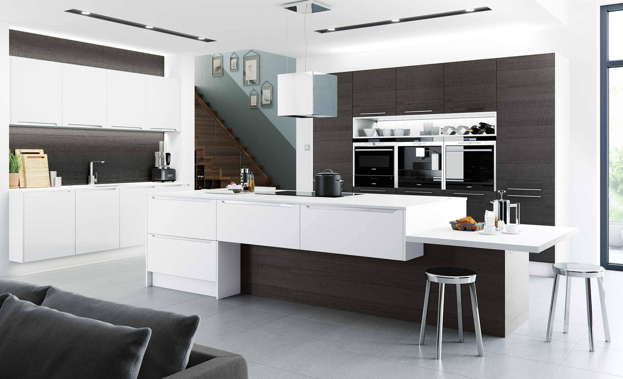 Modern Olympia Kitchen Combined With Tavola in Stained Black Brown Ferrara