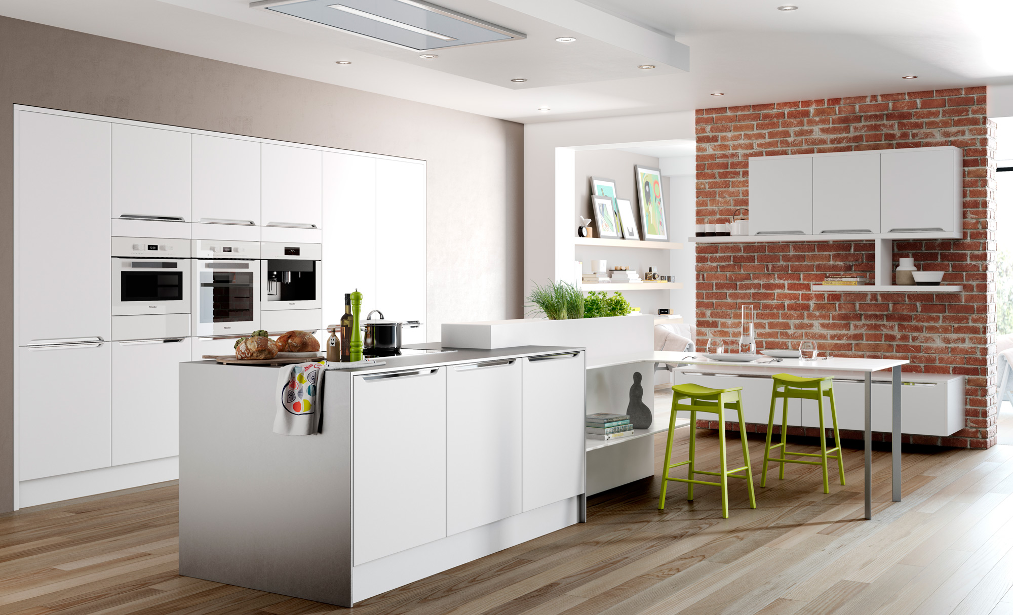Modern Contemporary Olympia matte white kitchen