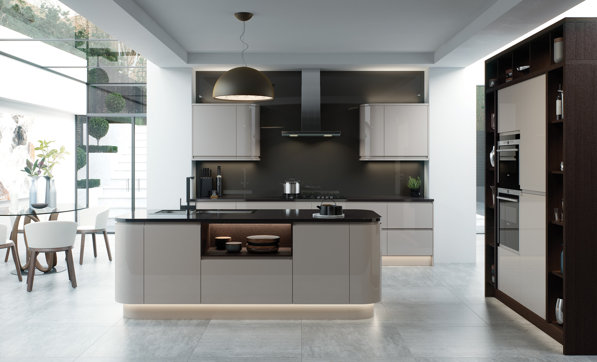 Modern Contemporary Strada Gloss Cashmere Kitchen