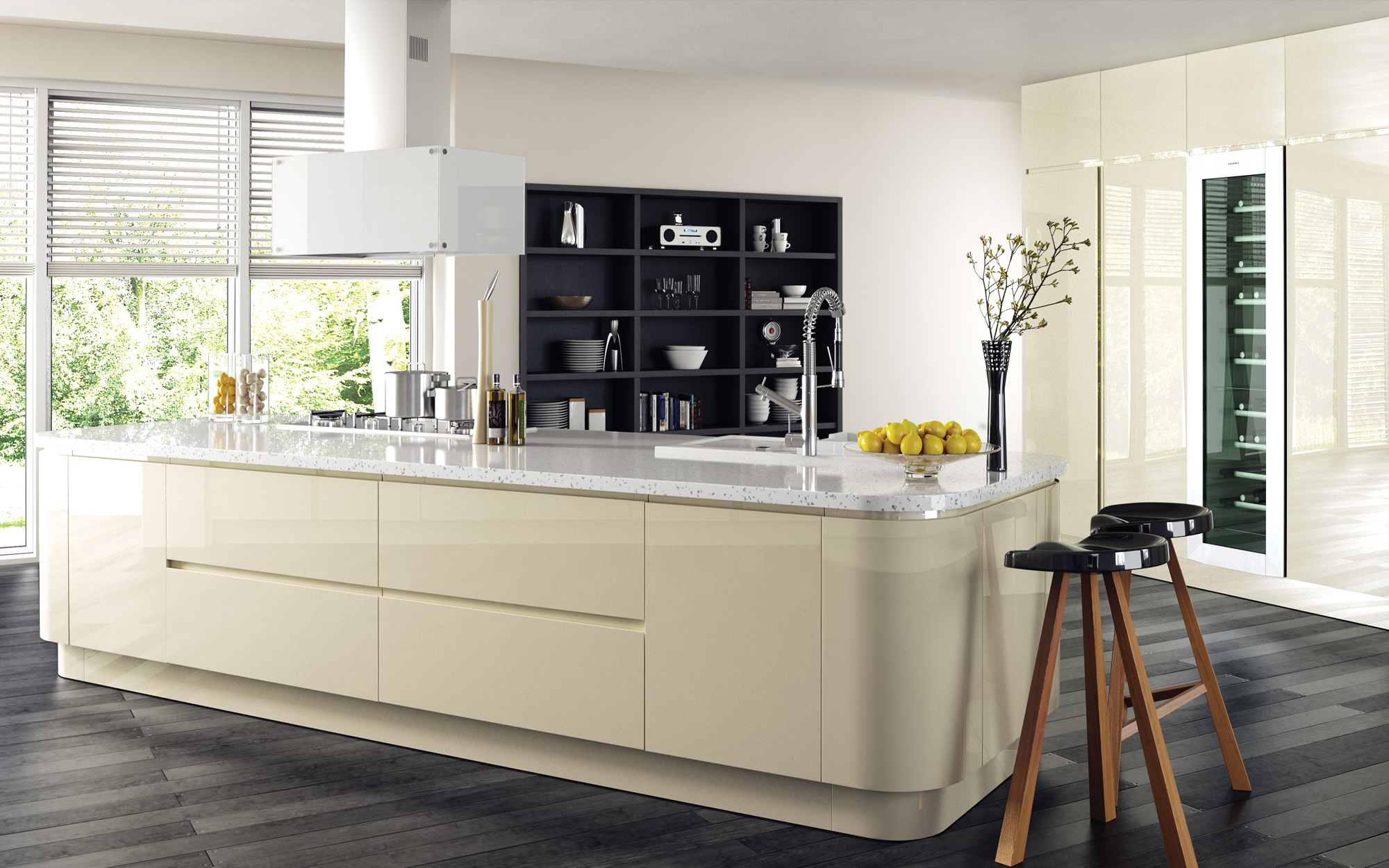 Modern Contemporary Strada Gloss Ivory Kitchen