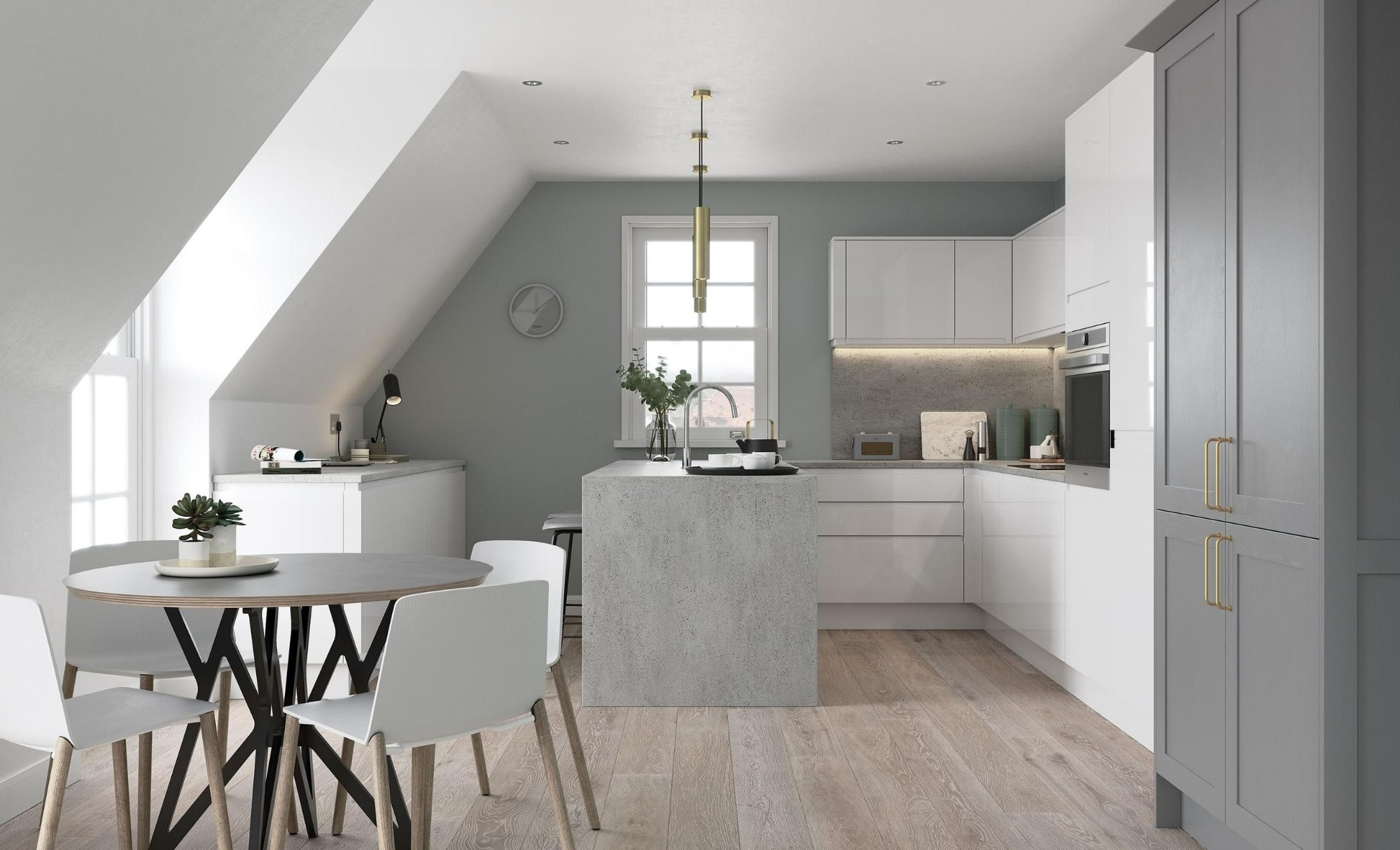 Modern Contemporary Strada Gloss White Kitchen Featuring Aldana Shaker in Painted Dust Grey