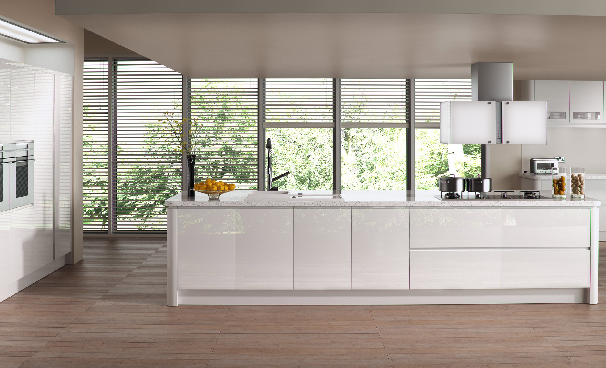 Modern Contemporary Strada Gloss White Kitchen