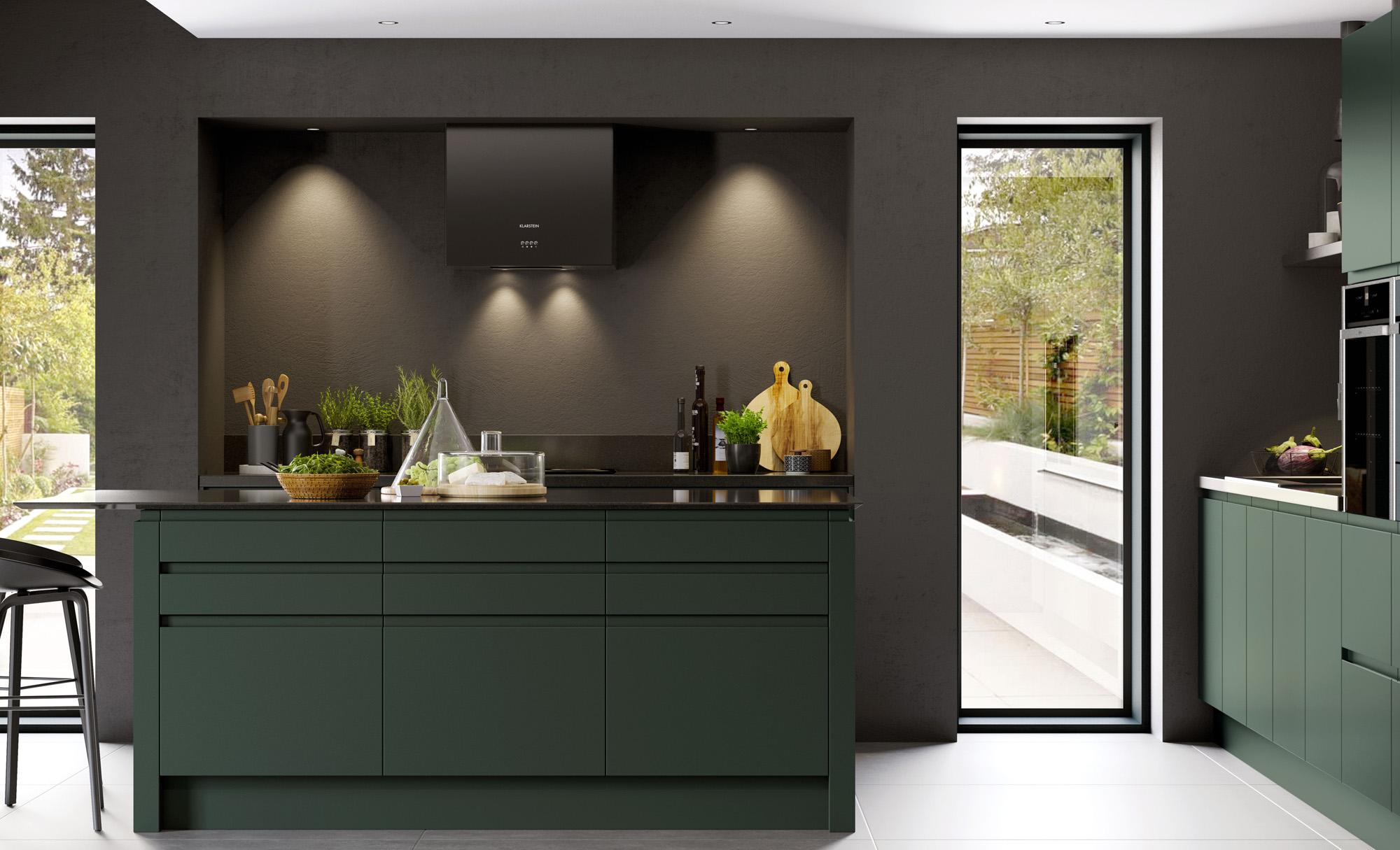 Modern Contemporary Strada Matte Kitchen in Deep Forest