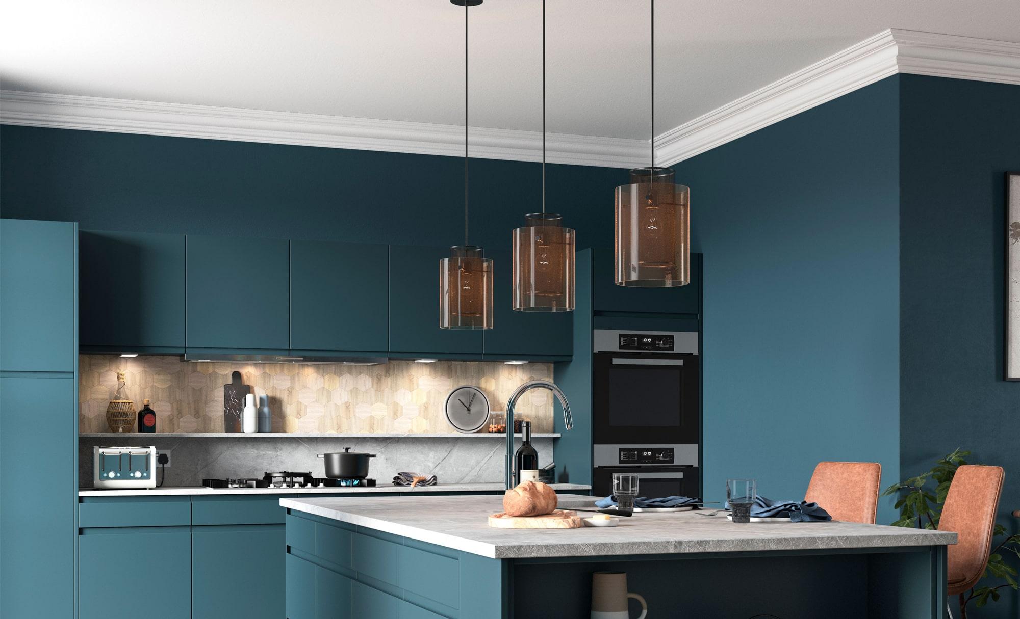 Strada Matte Marine Kitchen Contemporary Style