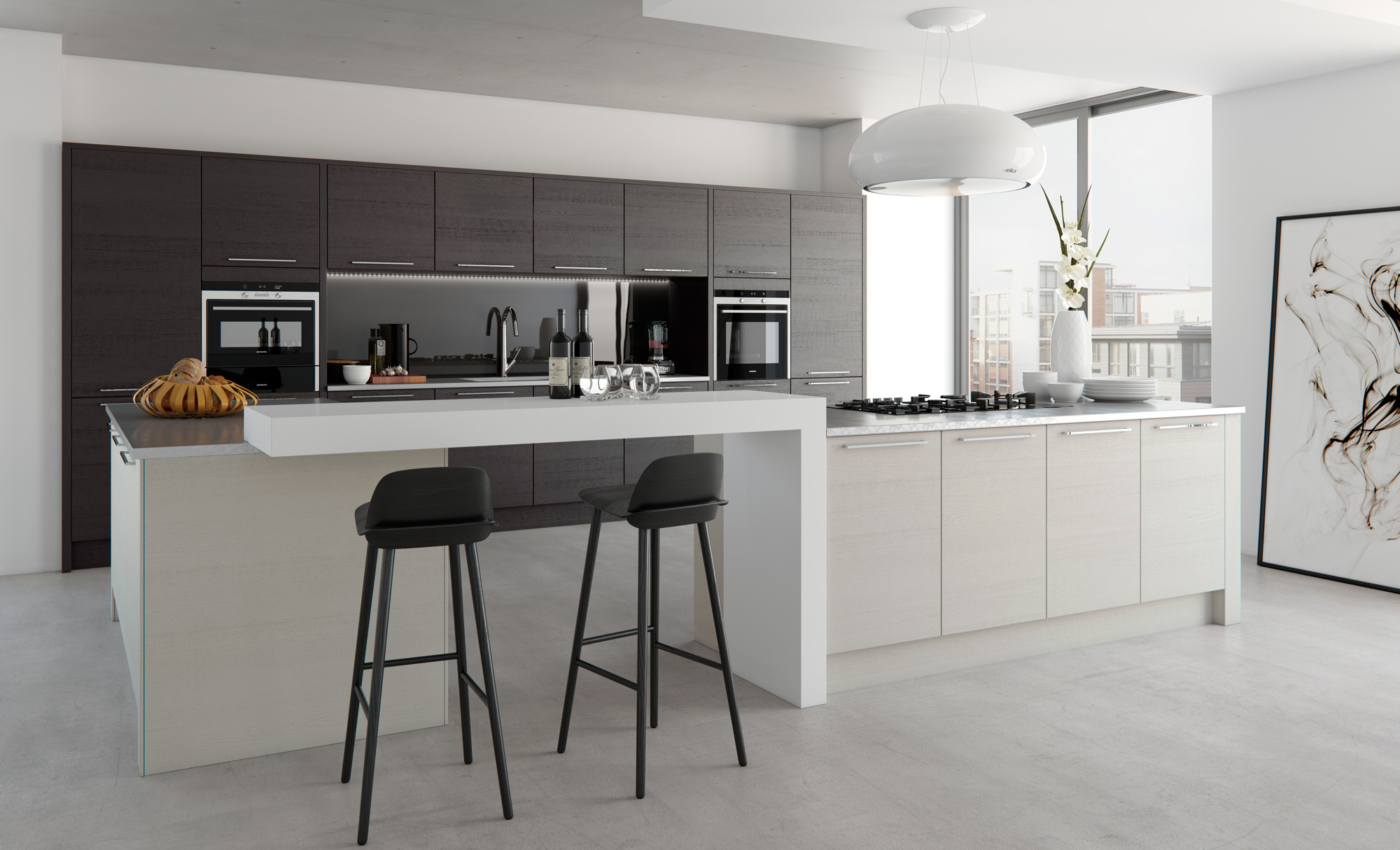 Tavola Kitchen in Stained Hacienda Black and Painted Light Grey