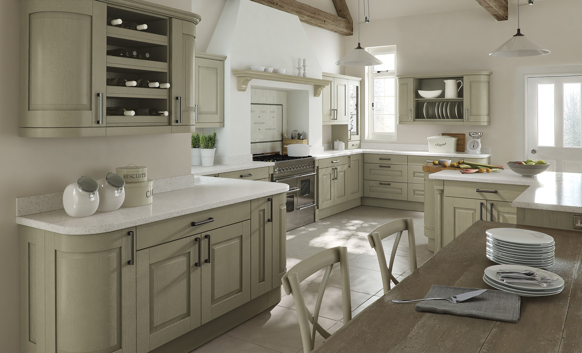 Classic Traditional Windsor Kitchen In Painted Sage Green