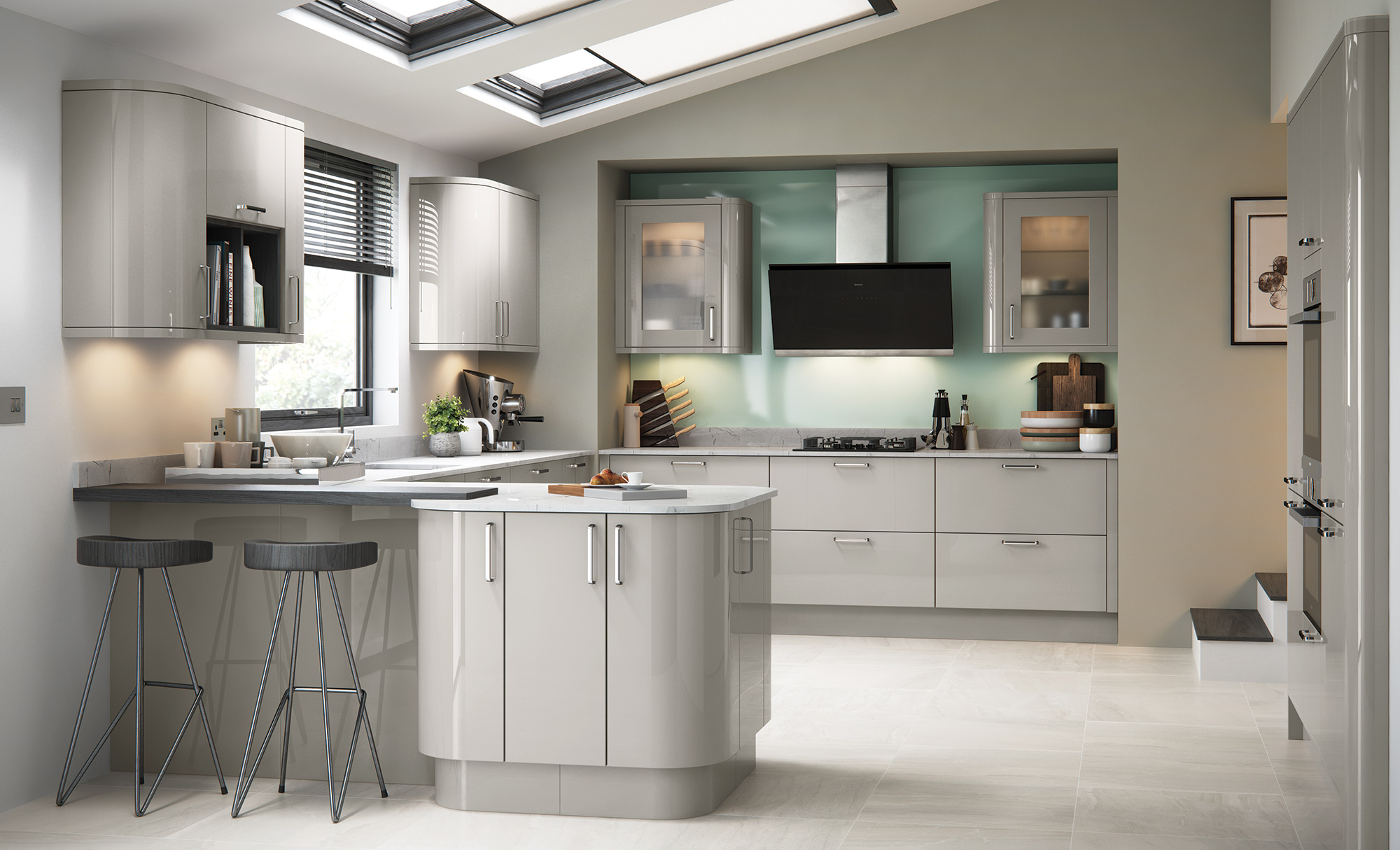Modern Contemporary Zola Gloss Kitchen in Cashmere
