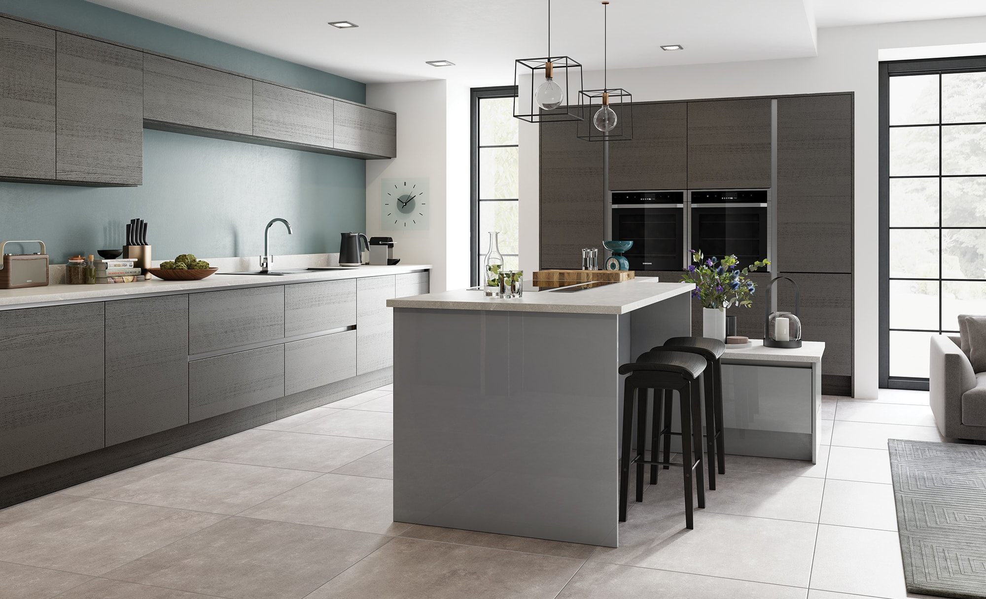 Tavola anthracite zola gloss dust grey kitchen stori for Contemporary style kitchen cabinets