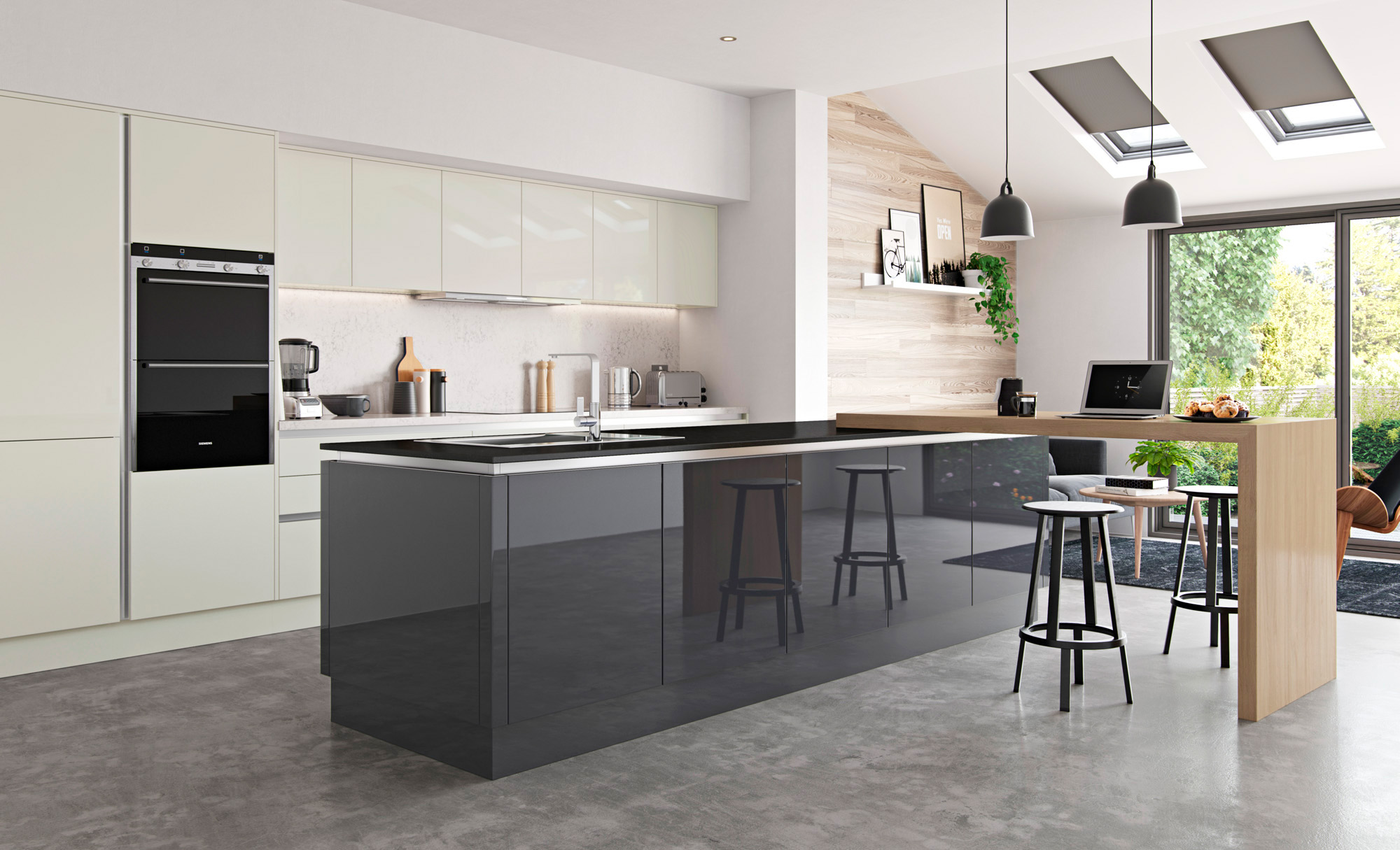 Zola Gloss Handleless Kitchen in Porcelain & Graphite