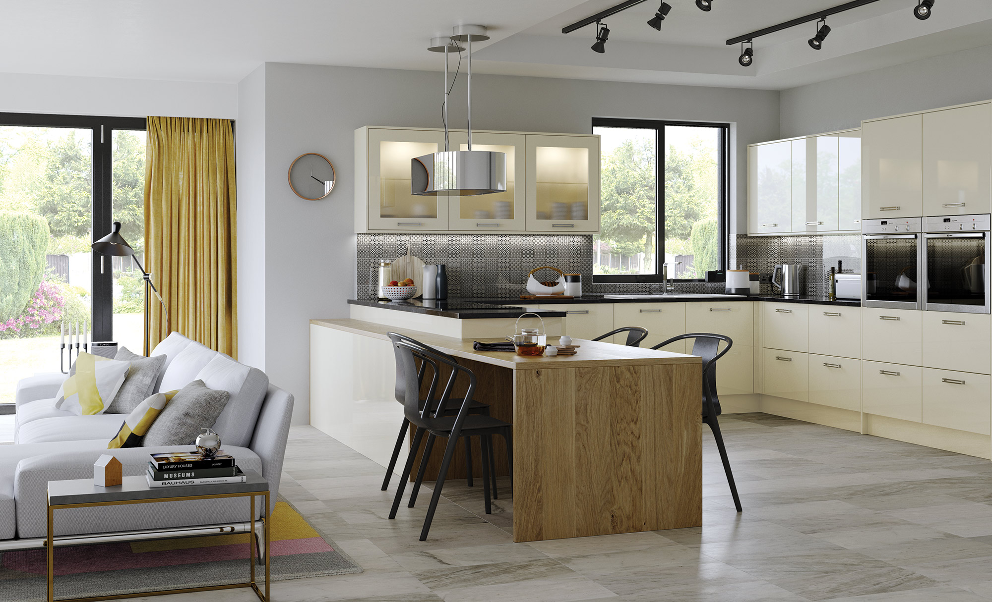 Modern Contemporary Zola Gloss Kitchen In Ivory