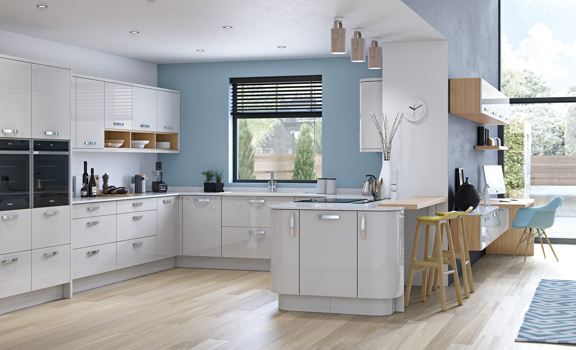 Modern Contemporary Zola Gloss Kitchen In Light Grey