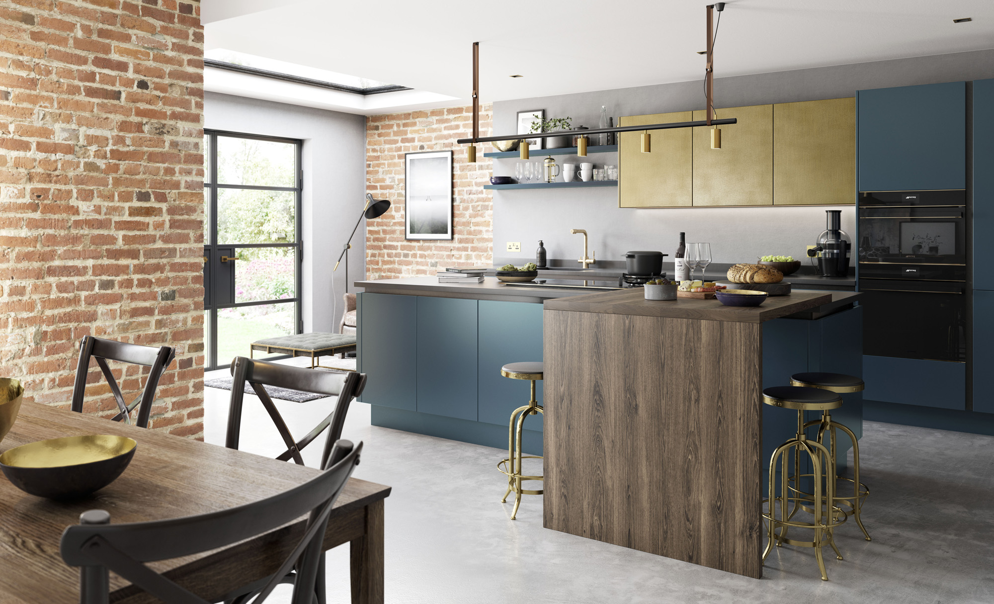 Modern Contemporary Zola Matte Kitchen in Dark Blue Featuring Ferro in Painted Brass