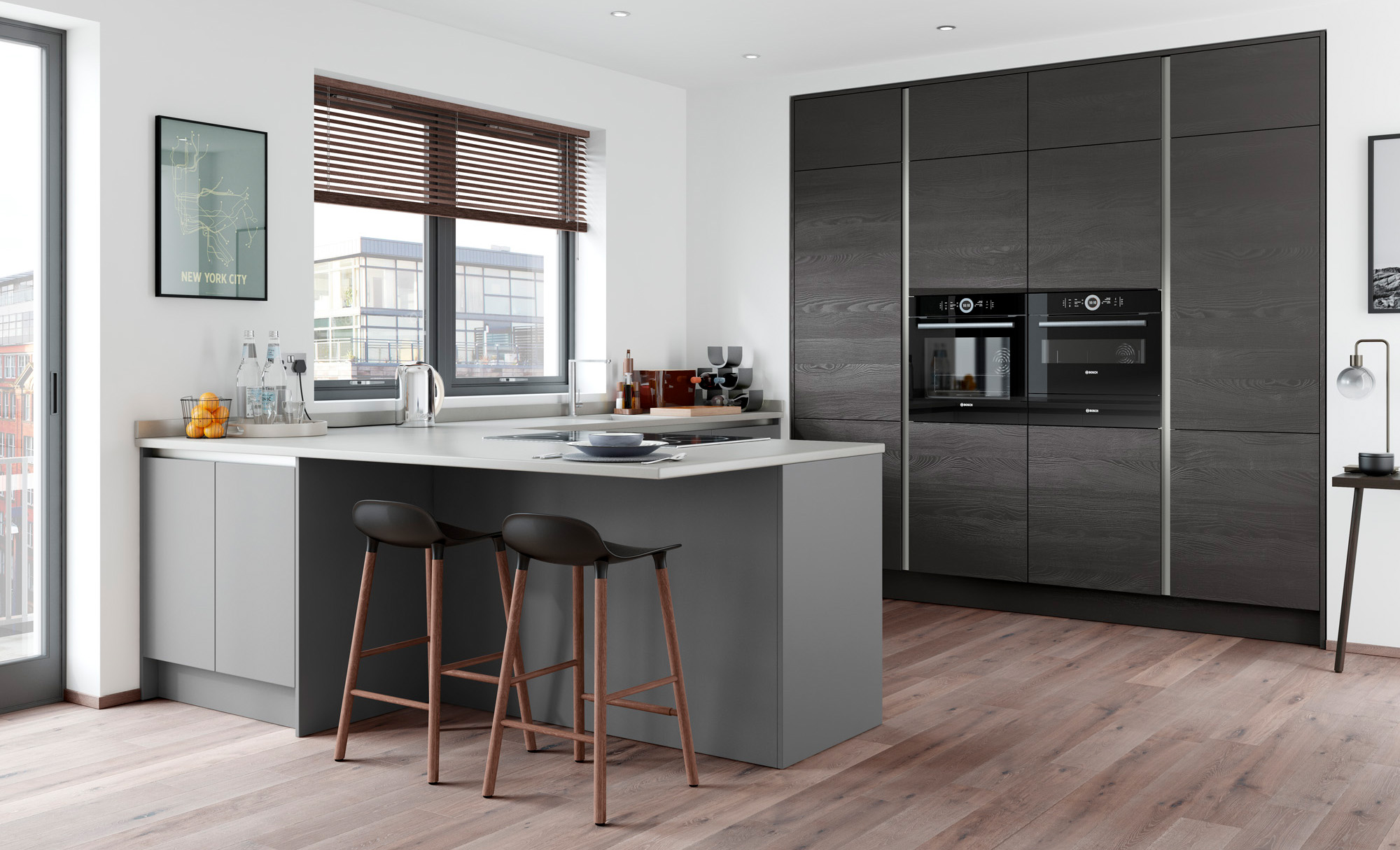 Zola Matte Handleless Kitchen in Dust Grey with Tavola in Hacienda Black