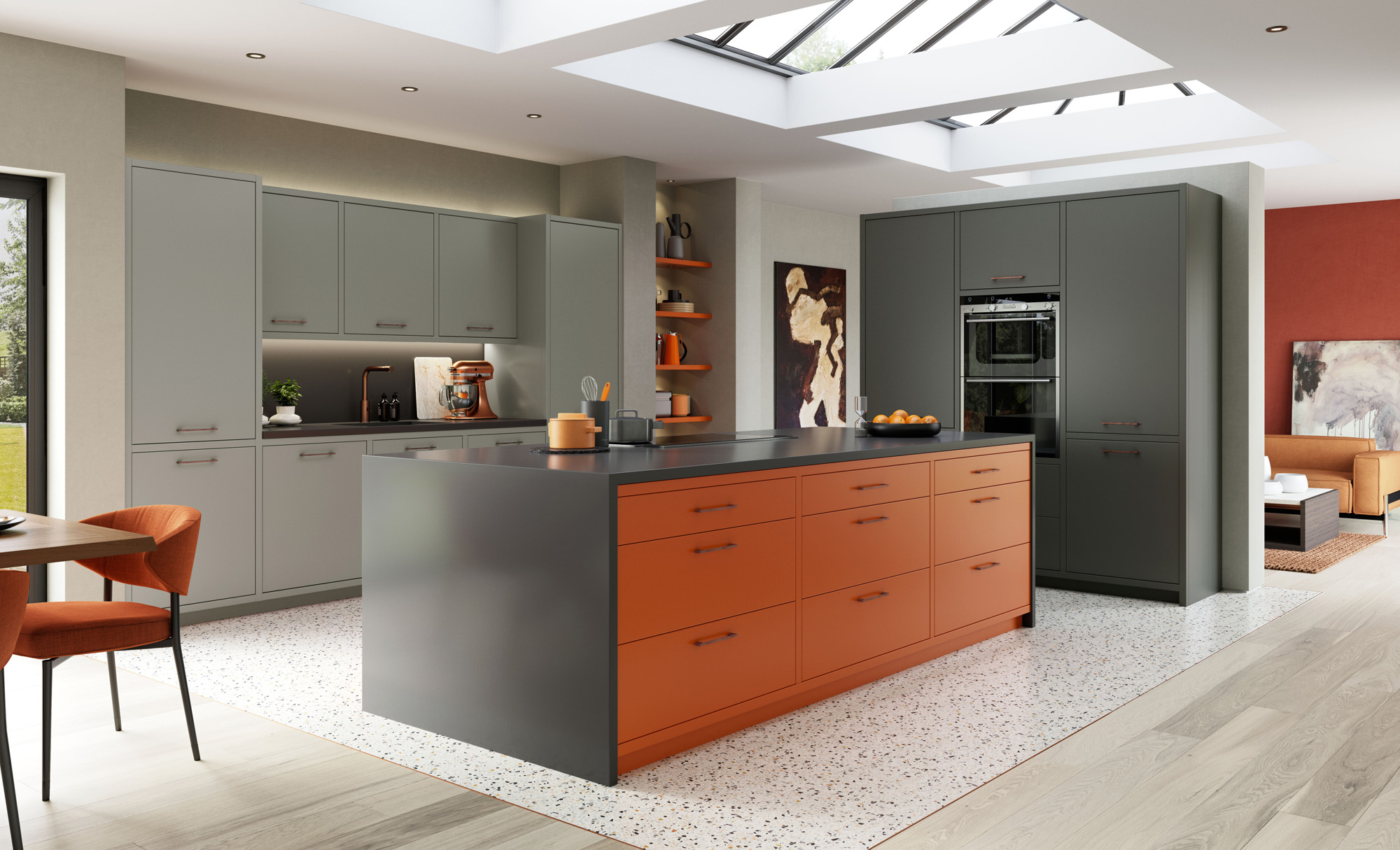 Modern Contemporary Zola Matte Painted Kitchen in Zingy Orange, Dust Grey & Graphite