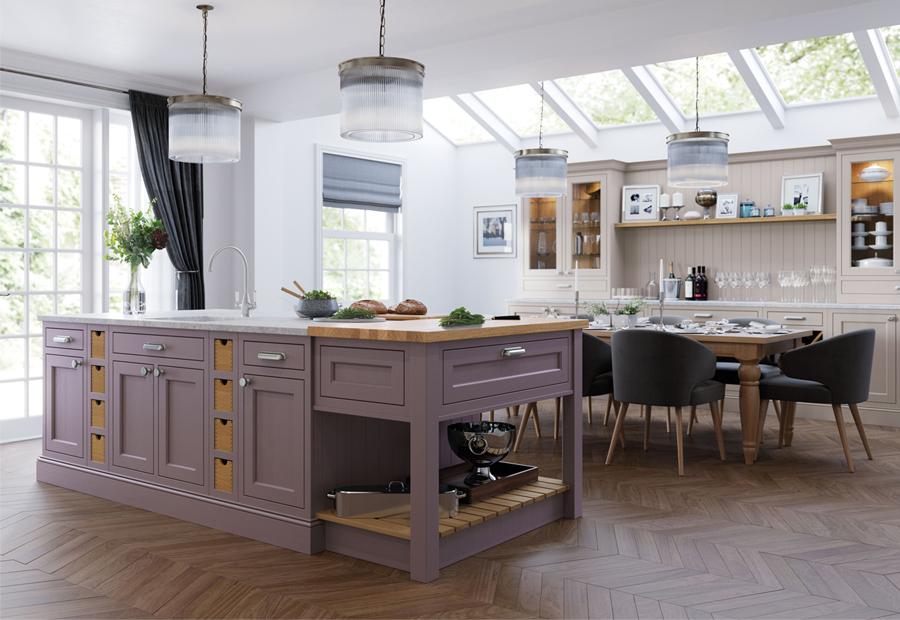 Traditional Classic Belgravia Kitchen in Lavendar Grey & Cashmere
