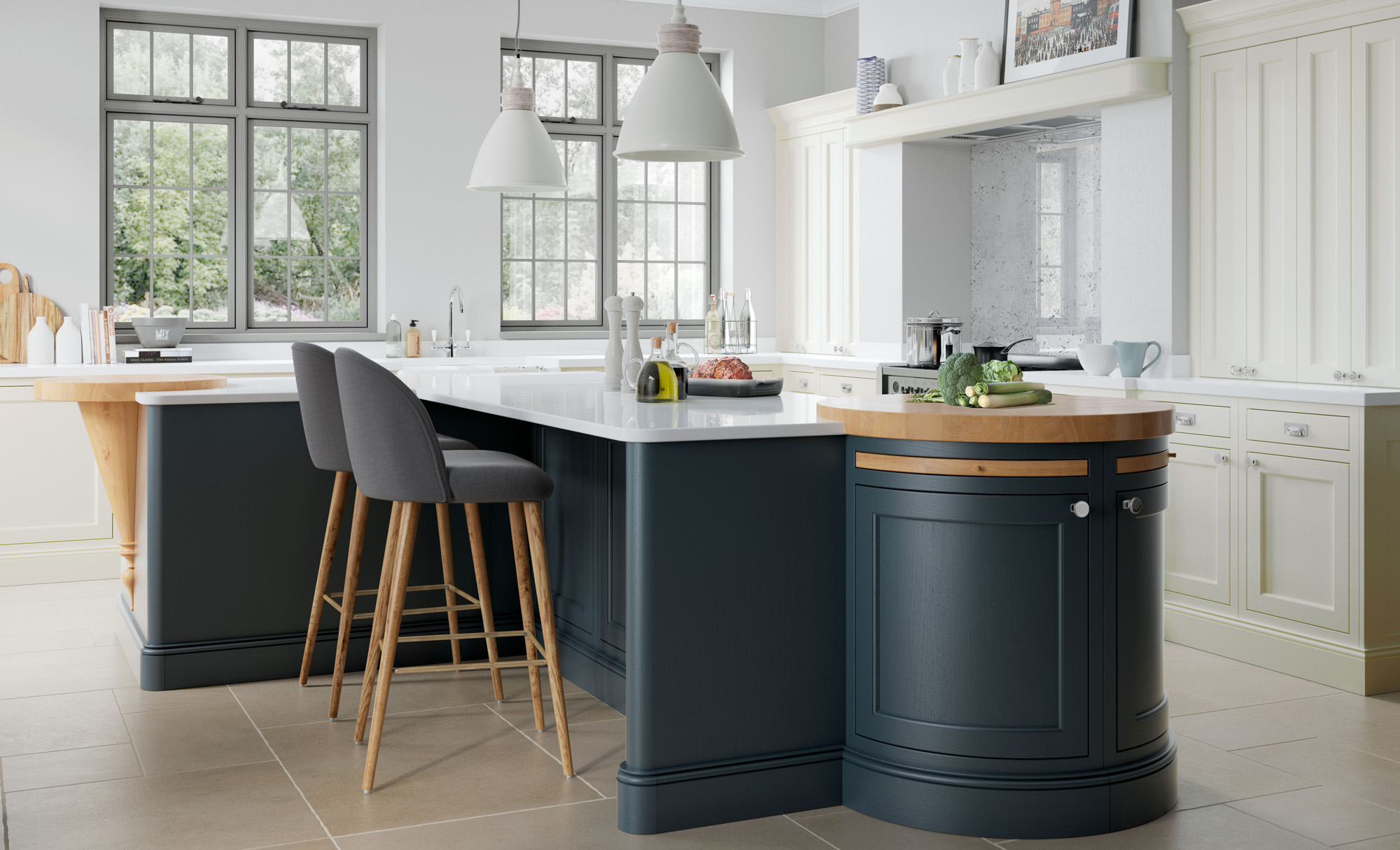 Traditional Classic Belgravia Kitchen in Midnight Blue & Porcelain