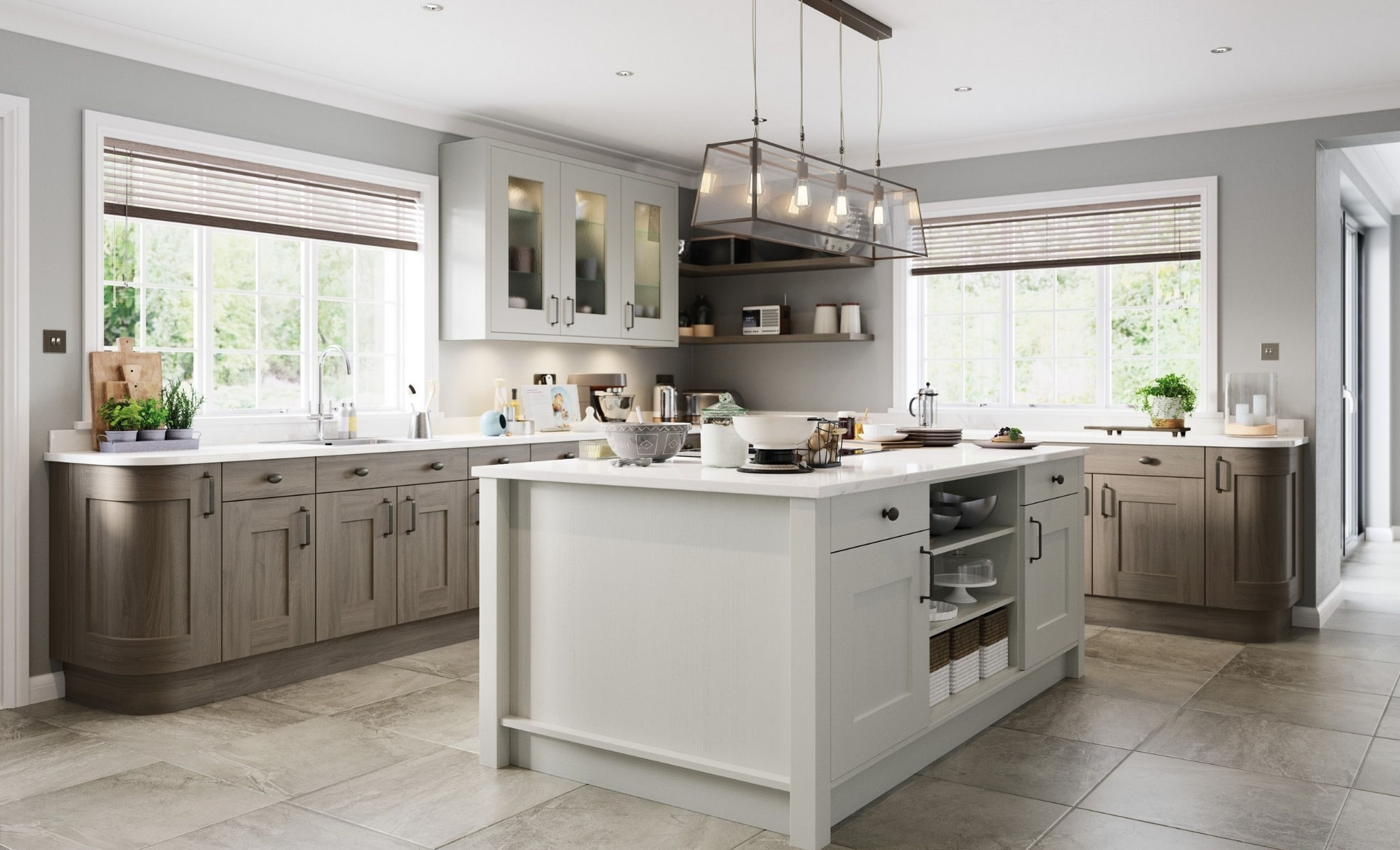 Clonmel In Light Grey Stained Carbon Kitchen Stori